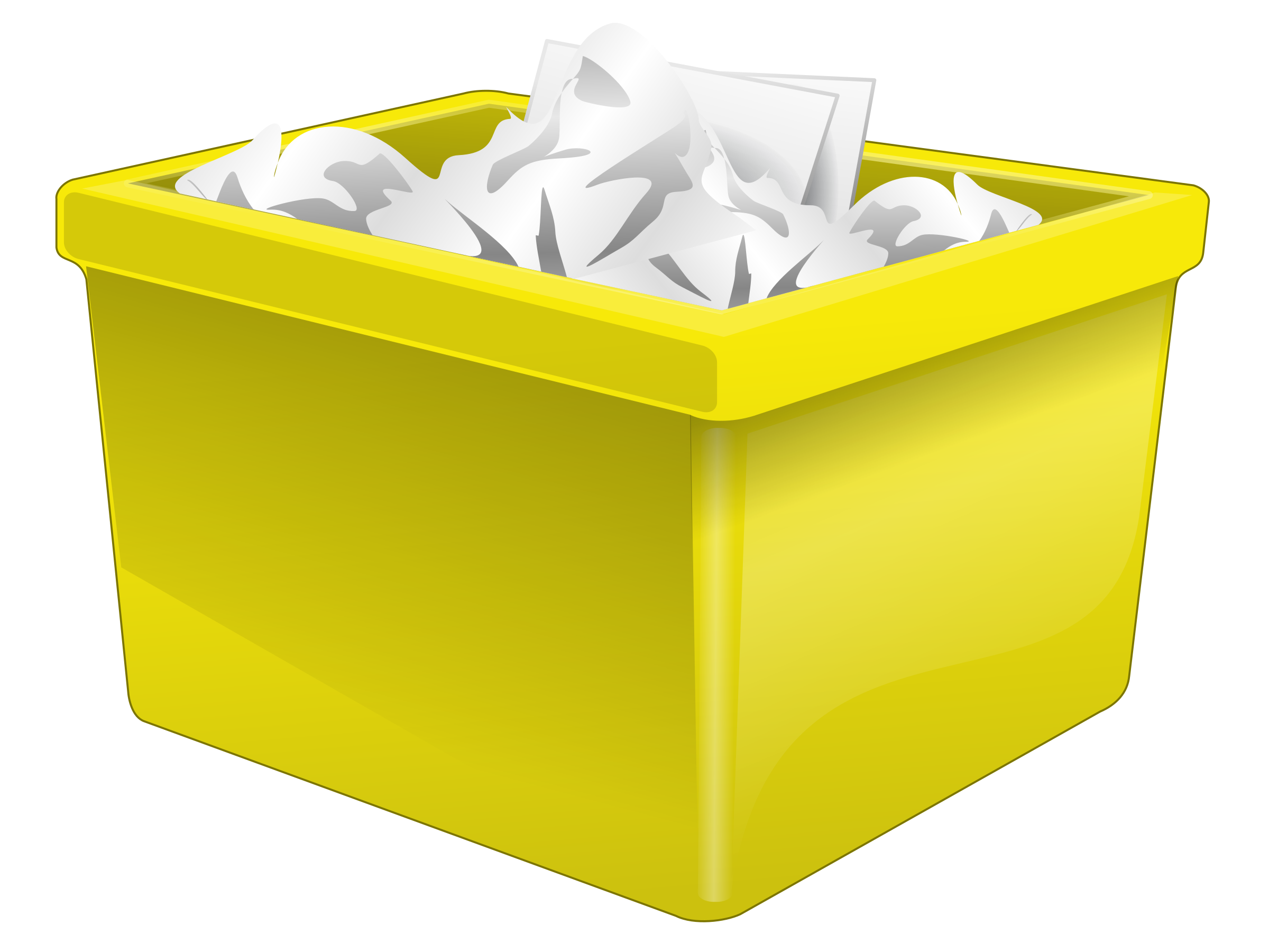 Yellow Plastic Box Filled With Paper by qubodup