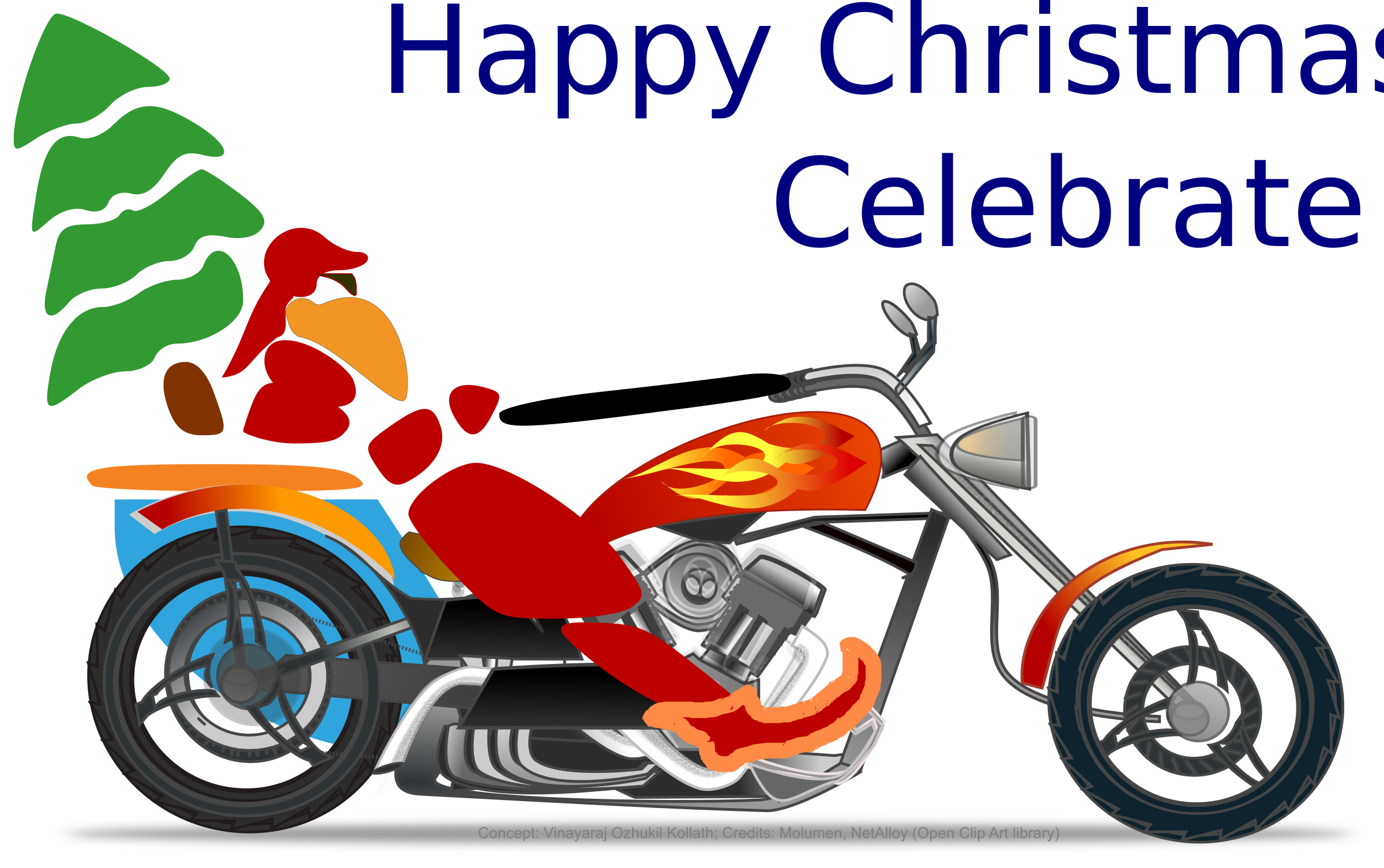 Santa on chopper by rajok