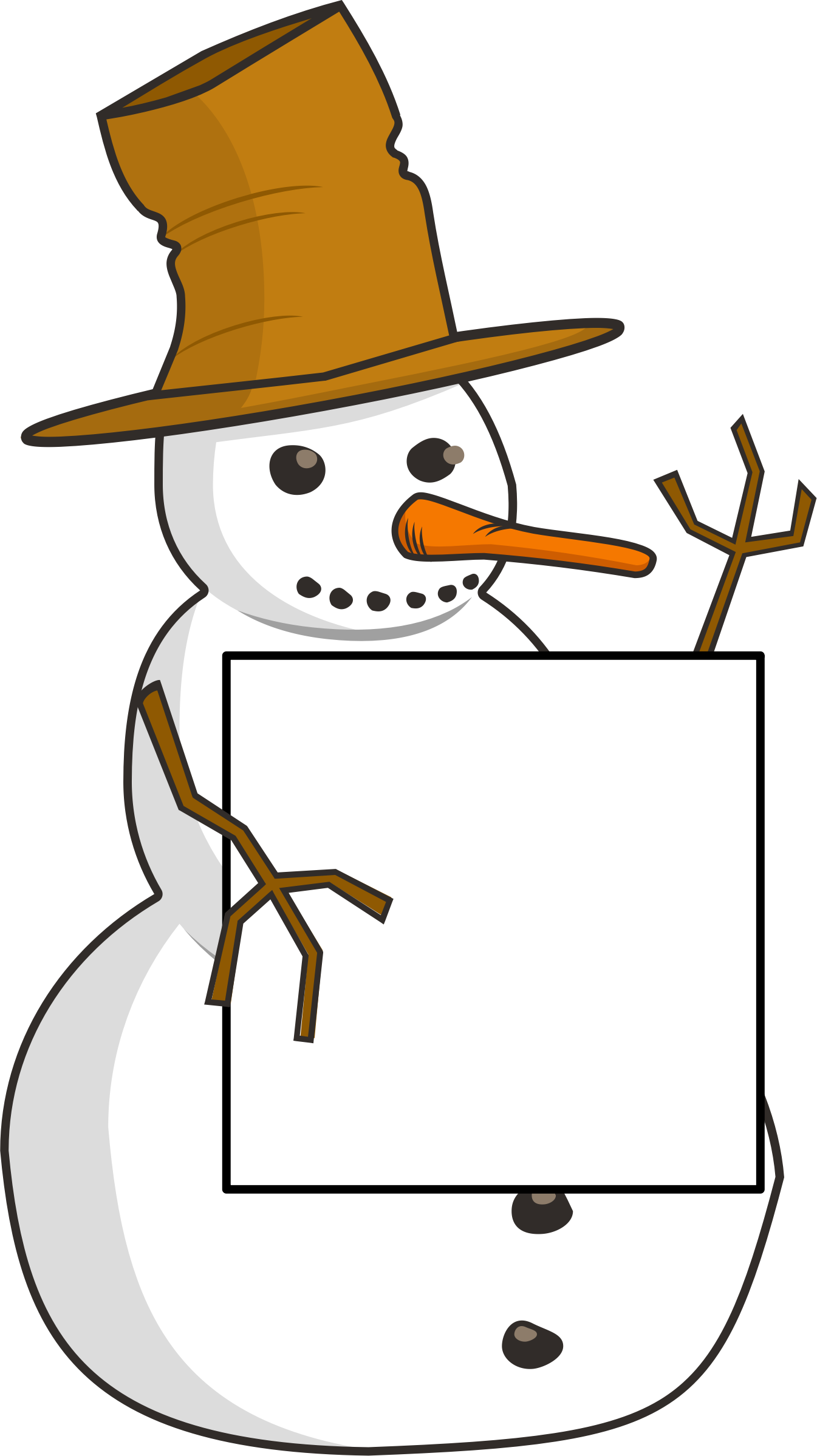 sign-holding snowman by ruthirsty