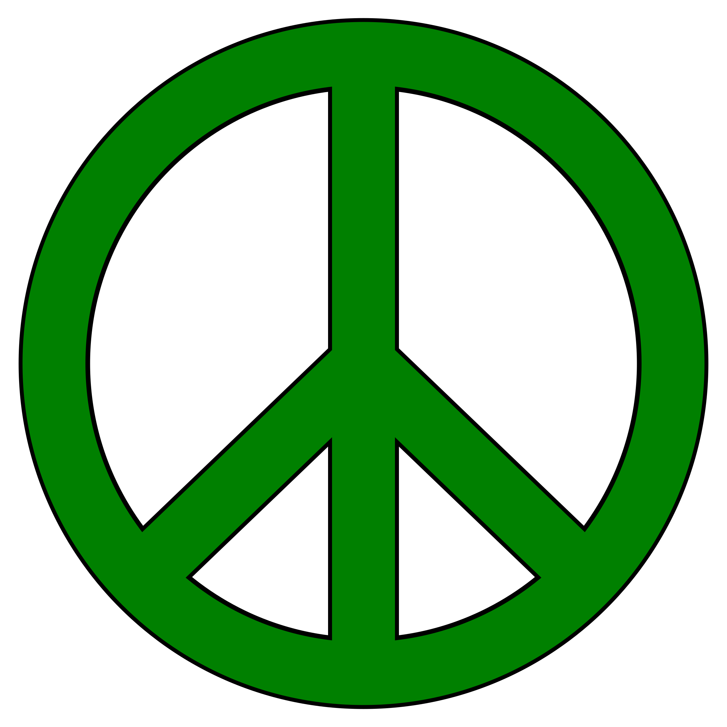Green Peace Symbol, Black Border by LindsayBradford