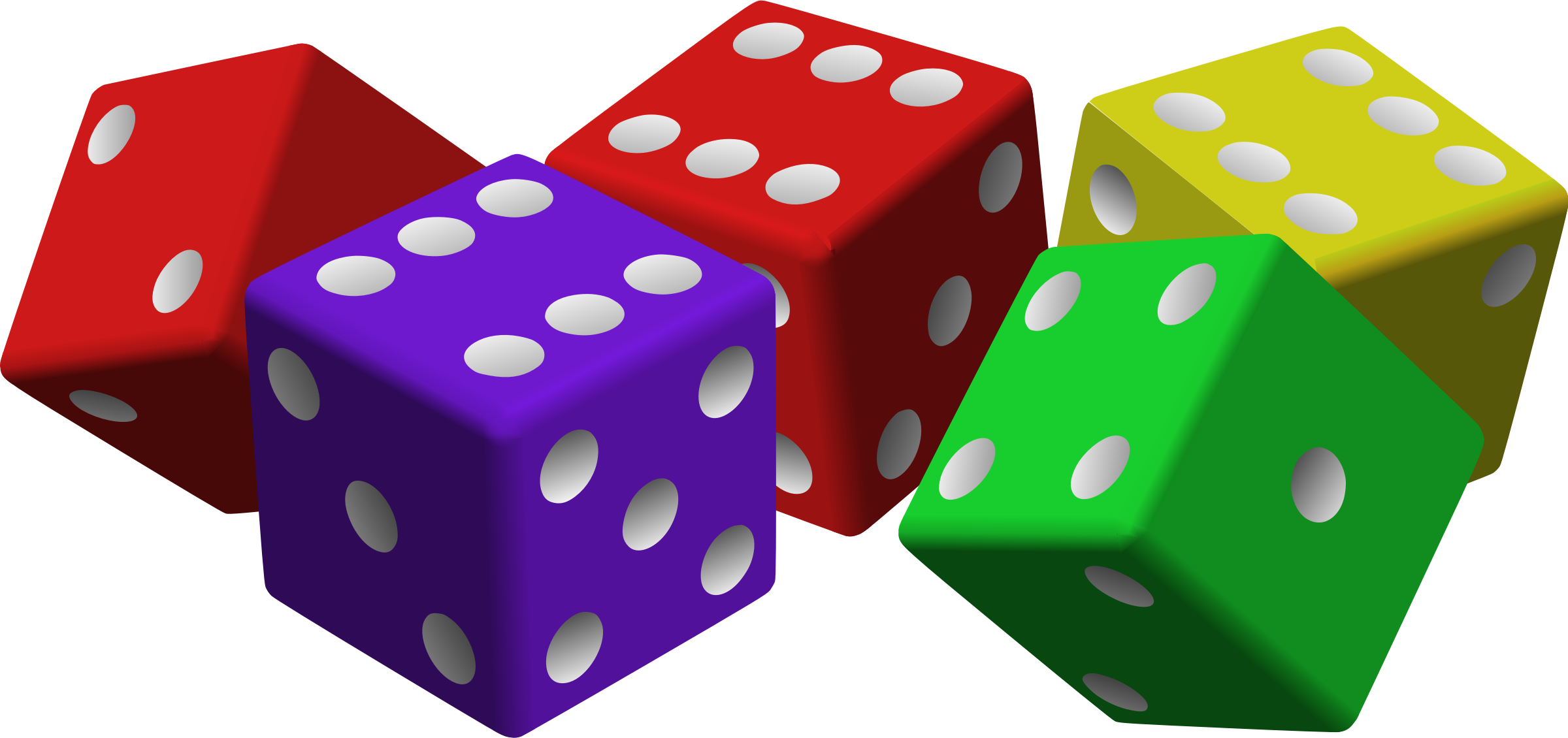 five colored dice by mariotomo