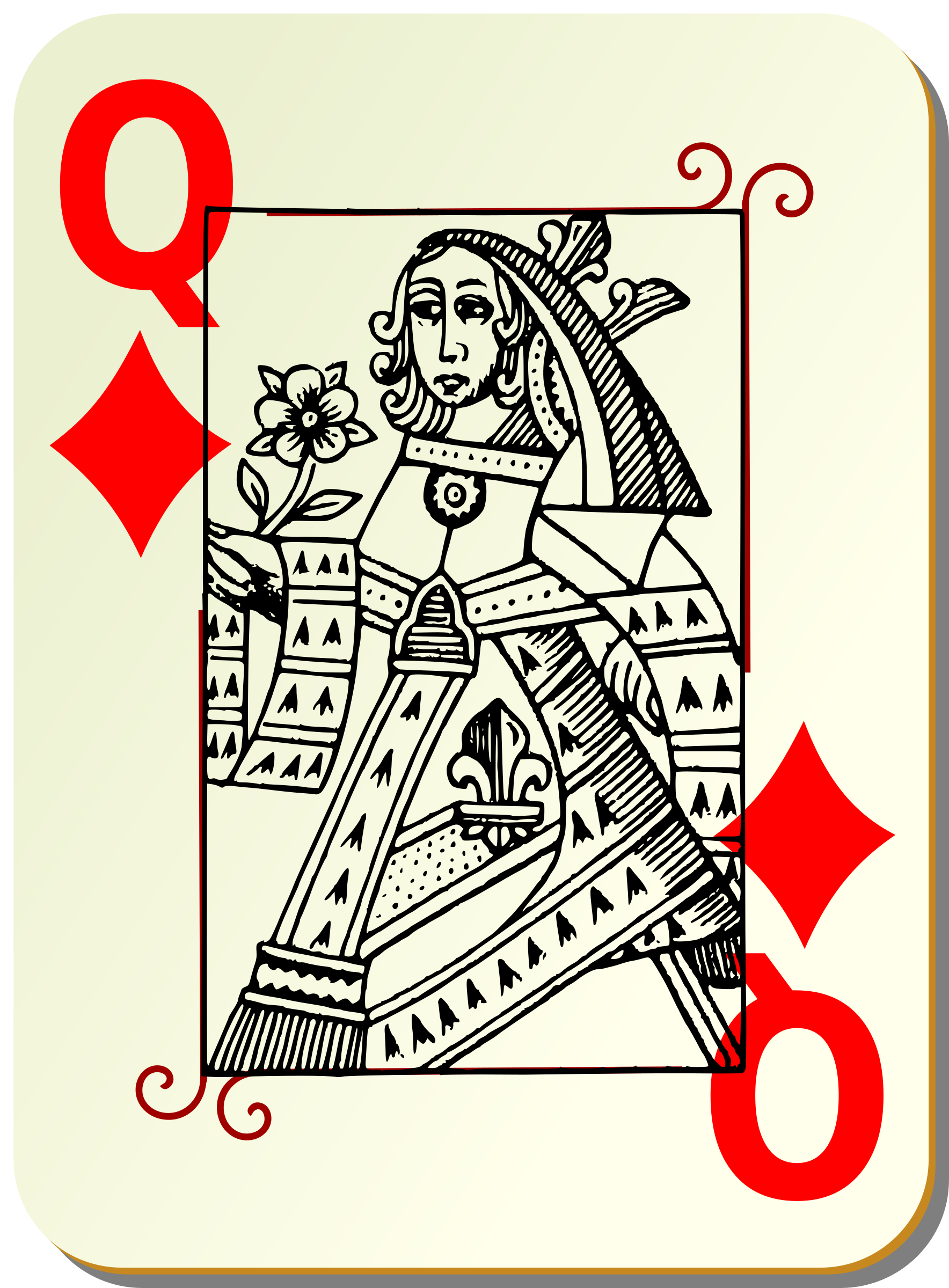 Guyenne deck: Queen of diamonds by mariotomo