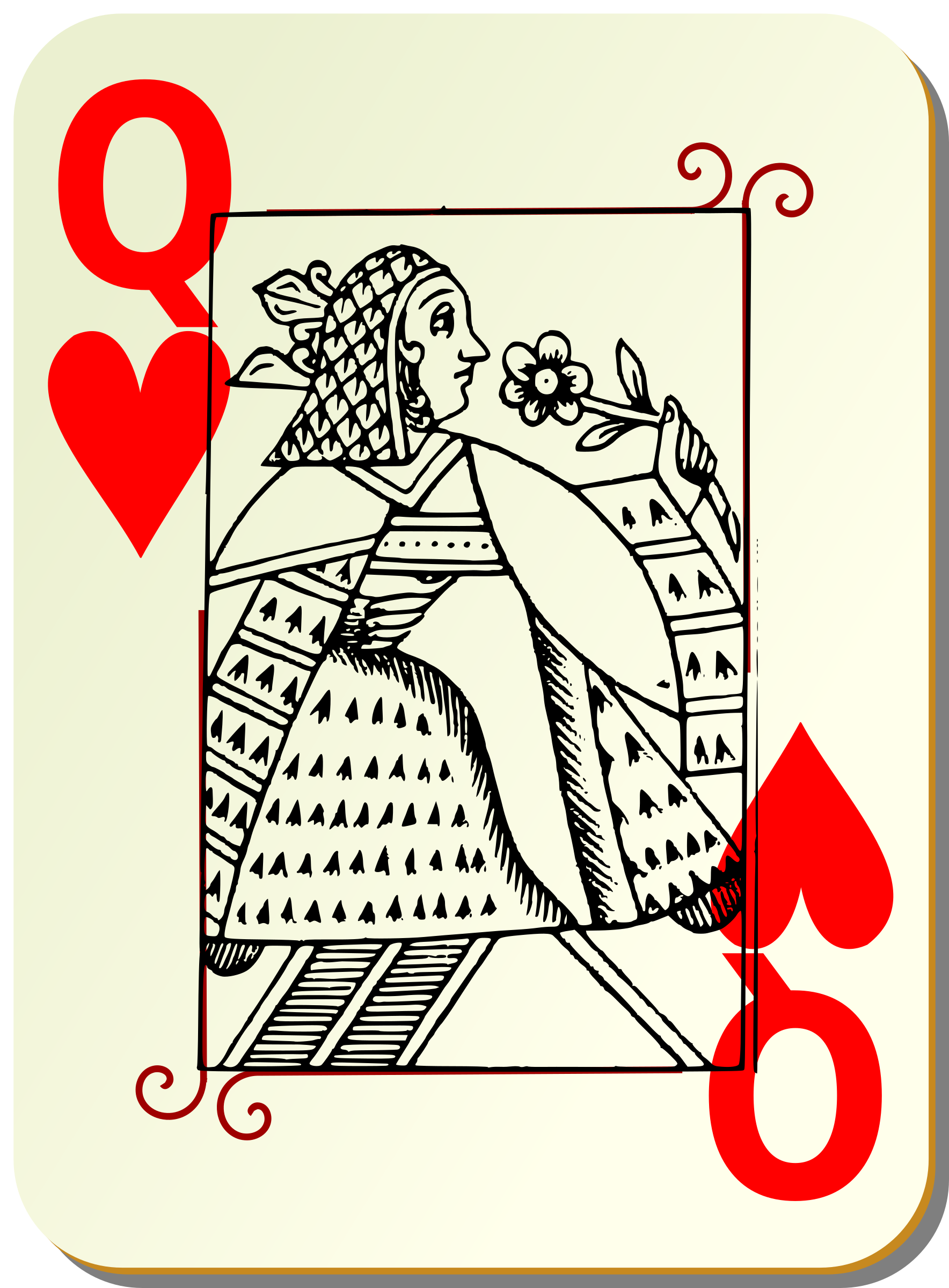 Guyenne deck: Queen of hearts by mariotomo