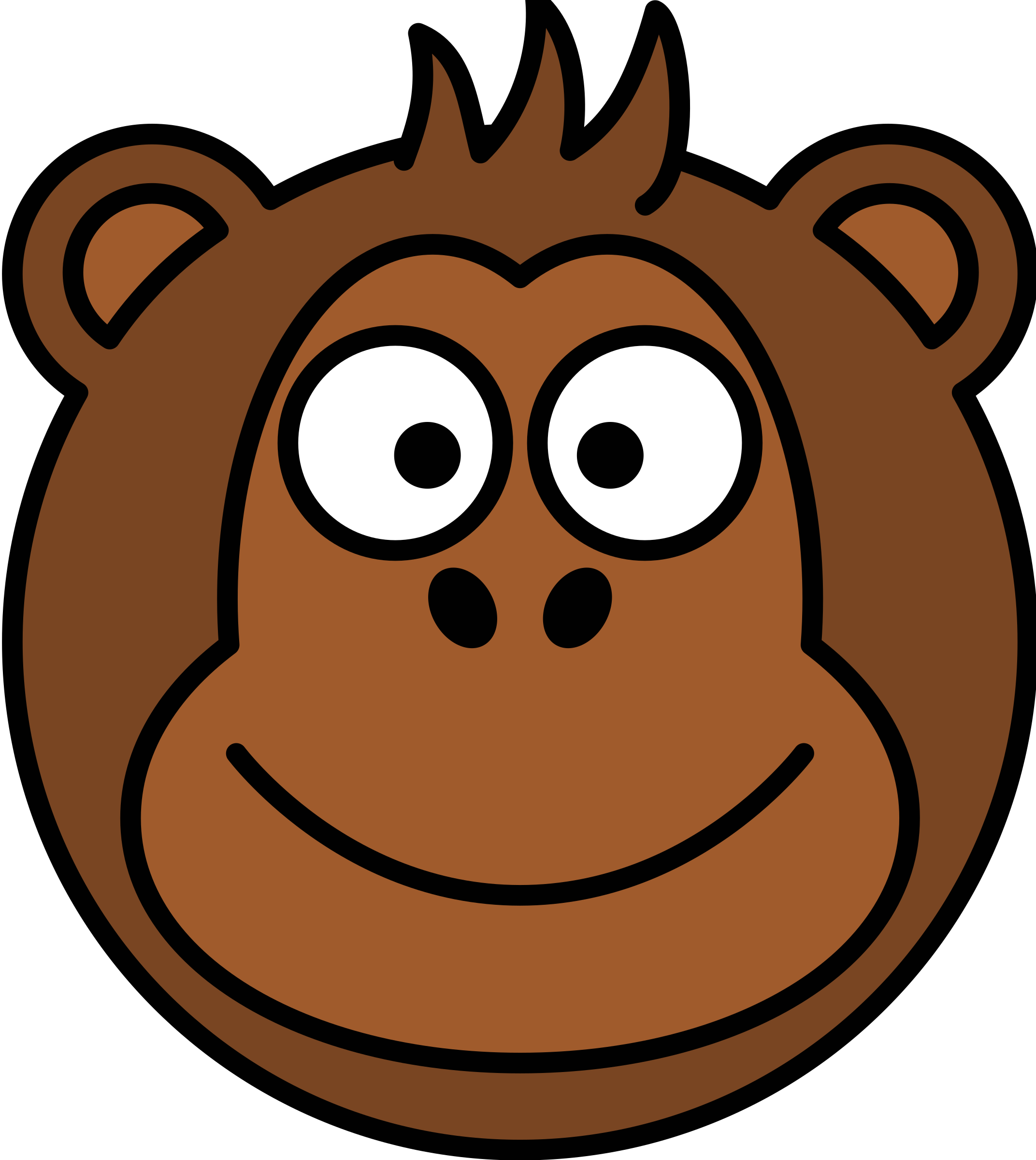 clipart monkey head rh openclipart org cartoon monkey head image cartoon monkey with m on head