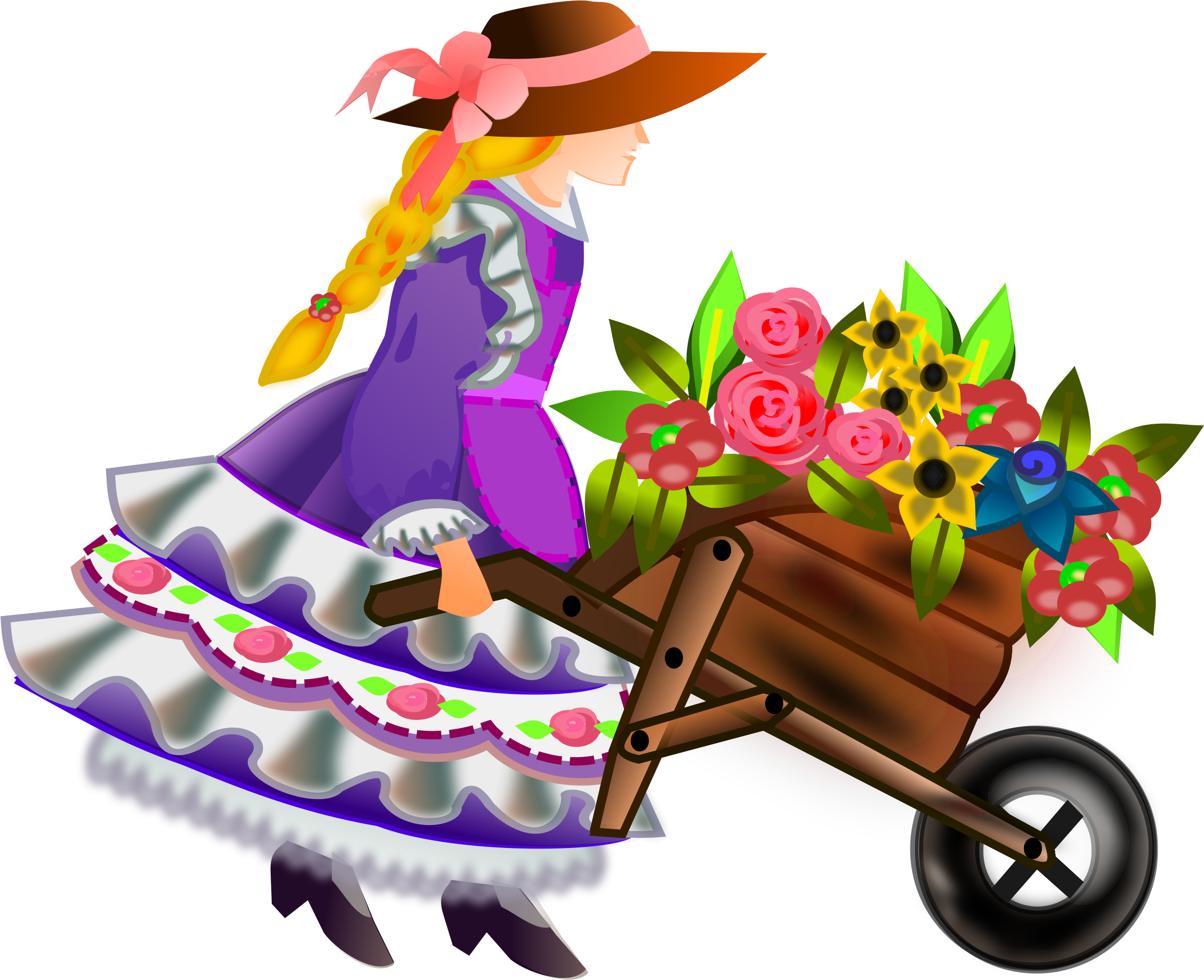 wheelbarrow with flowers by gurica