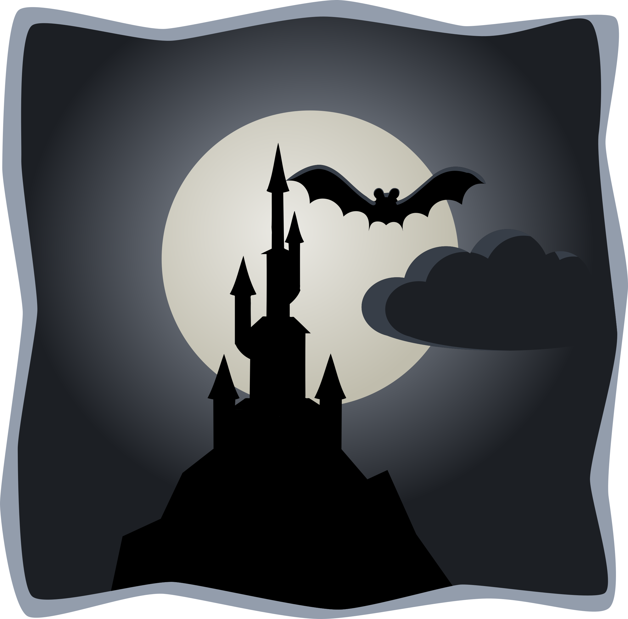 Spooky castle in full moon by lemmling