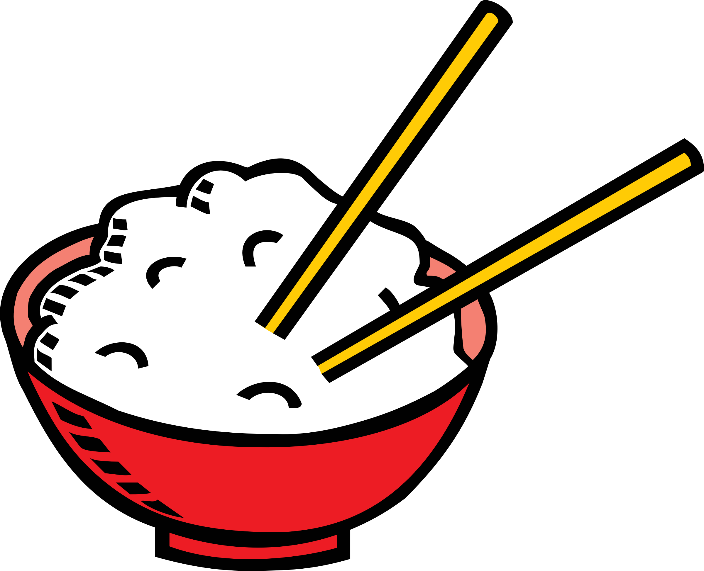 Bowl of rice and chopsticks by dkdlv