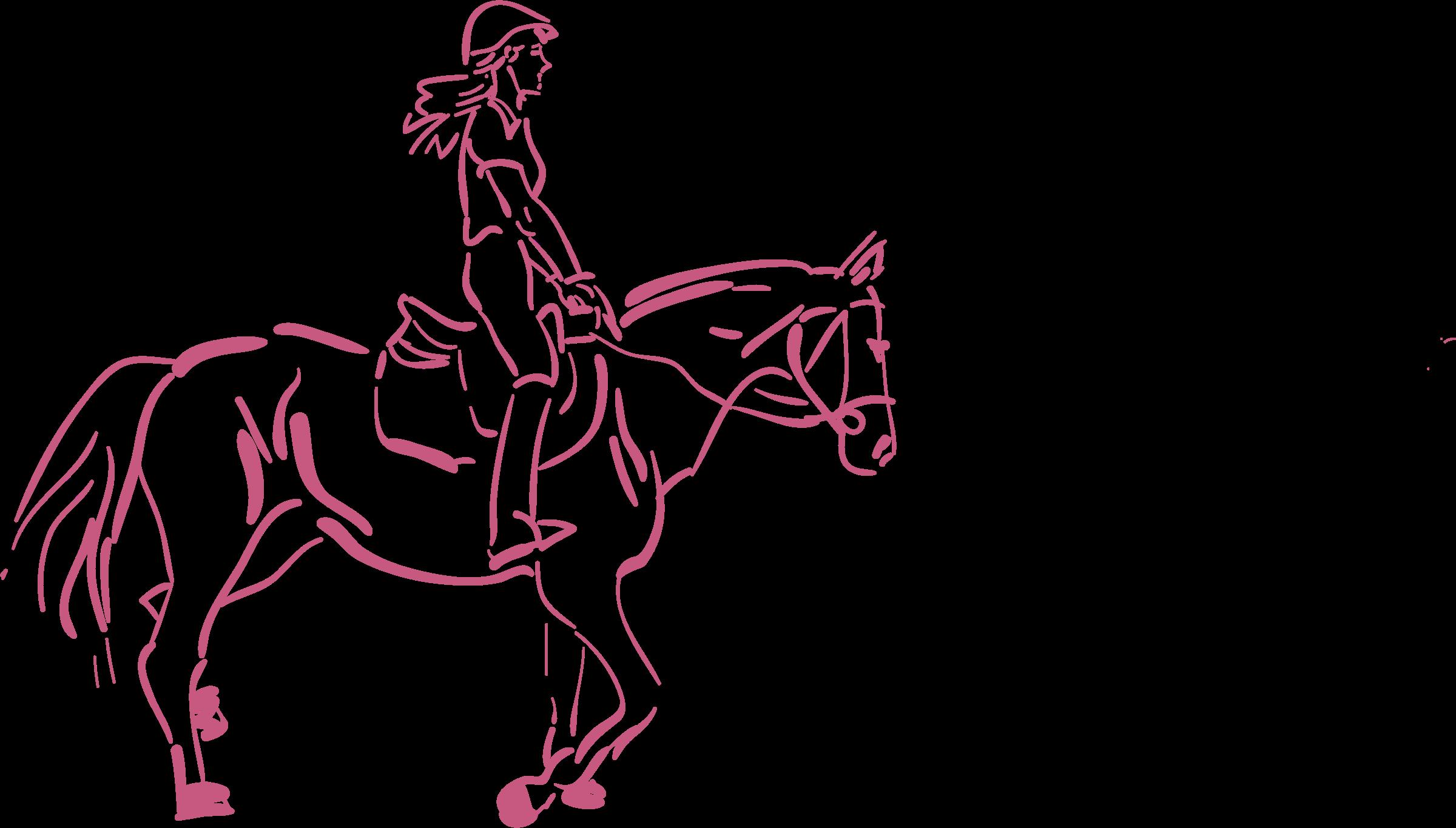 Girl horse riding cartoon