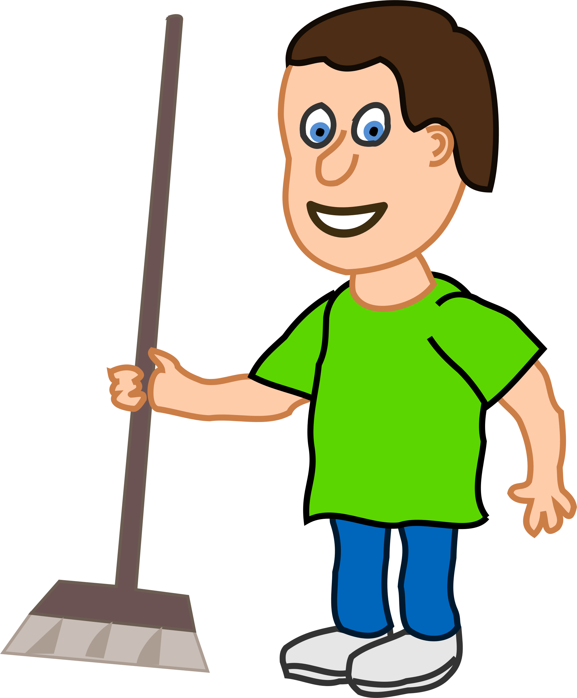 young housekeeper boy with broomstick by qubodup
