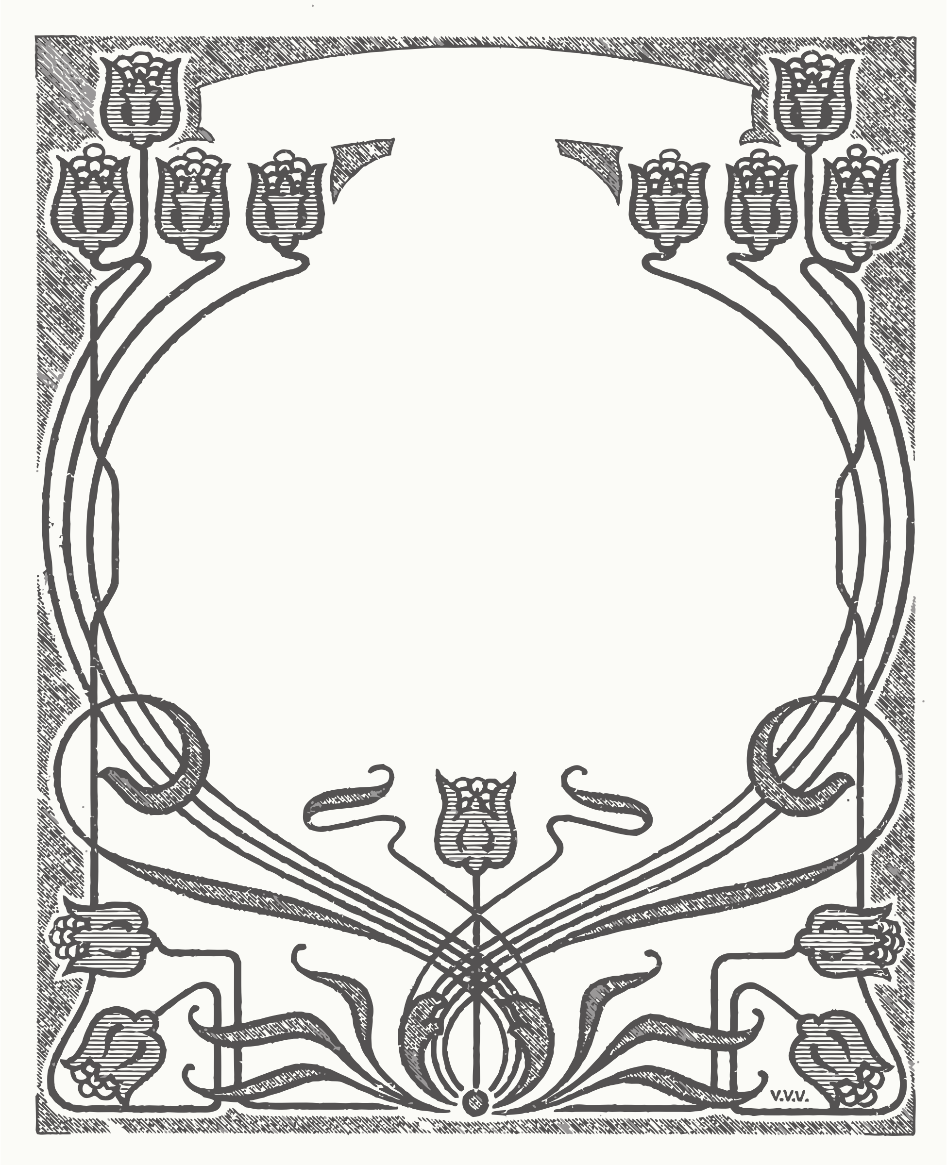 Art Nouveau Flower Frame by Doro