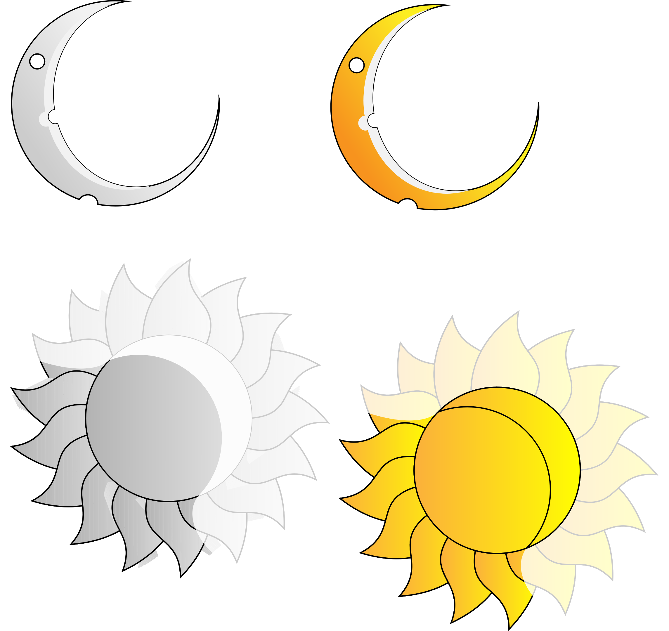 Rays and Crescent Moon and Sun  by intergrapher