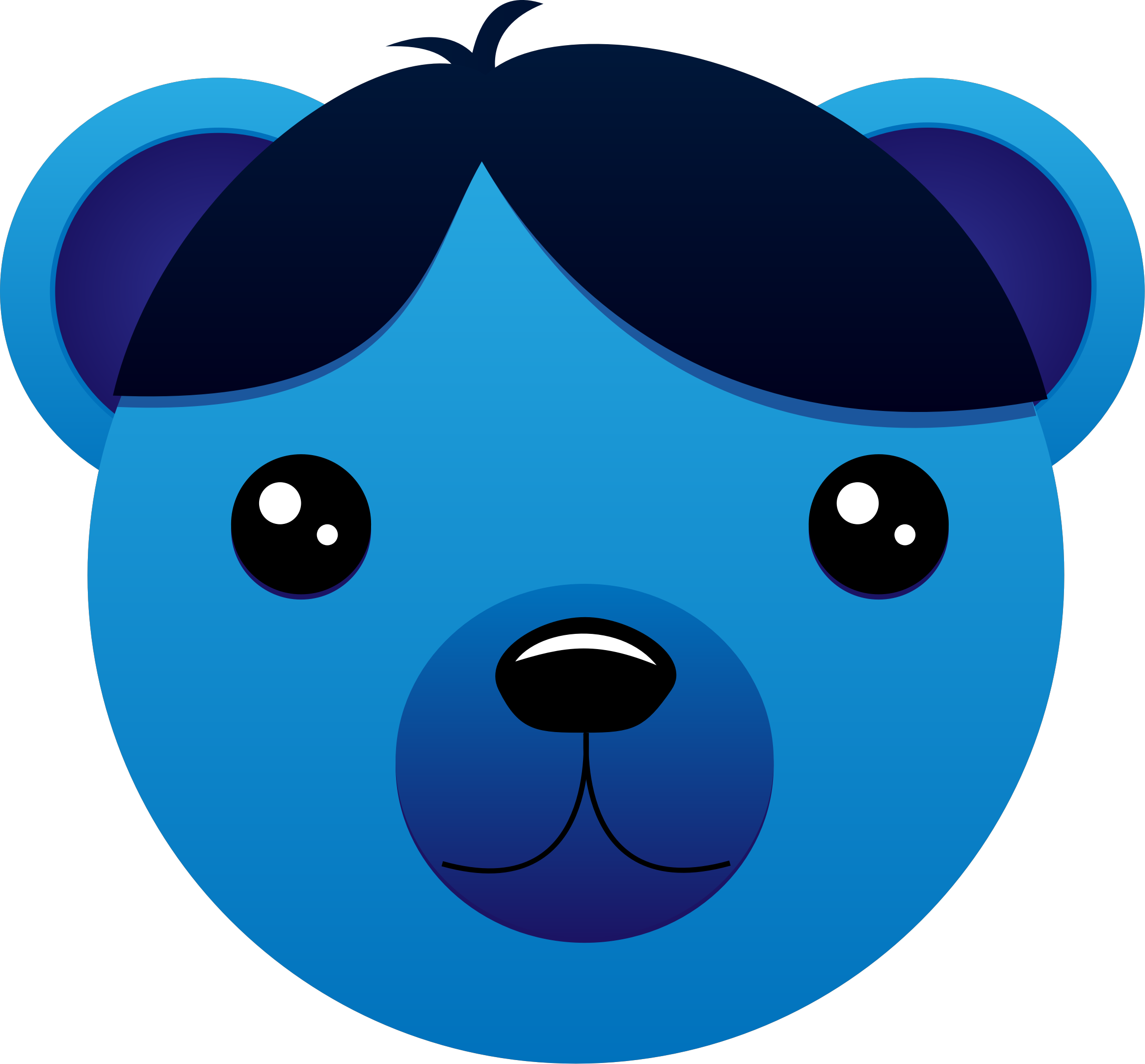 Blue Bear with parted hair by intergrapher