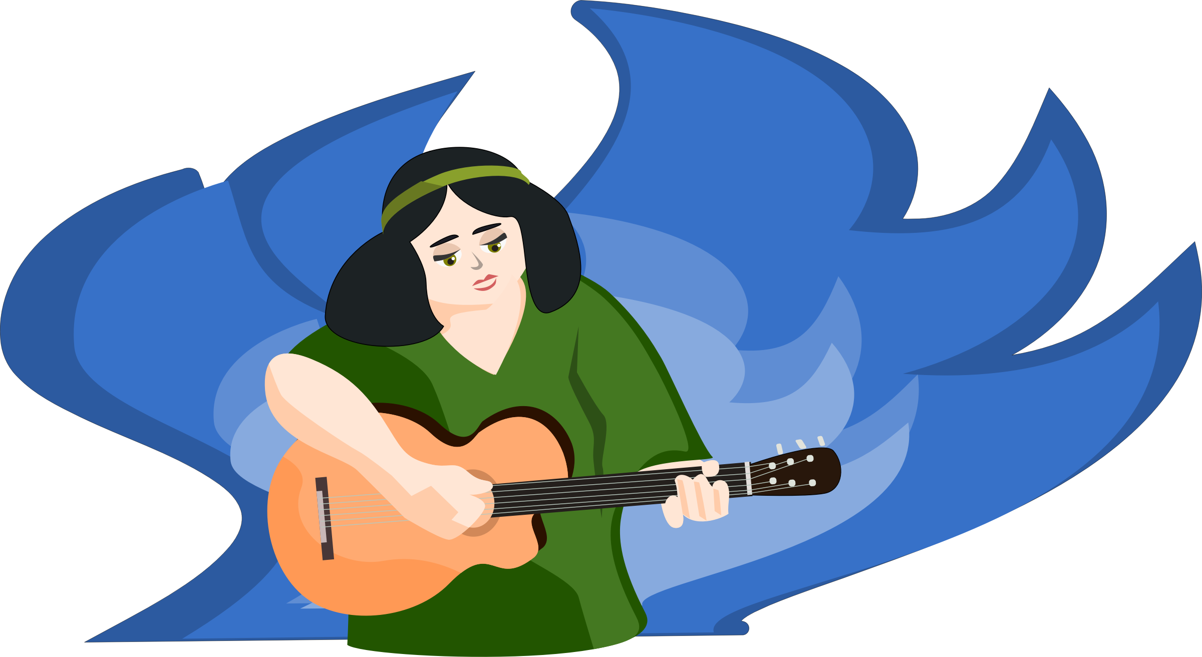 bard woman playing gitar by OlKu