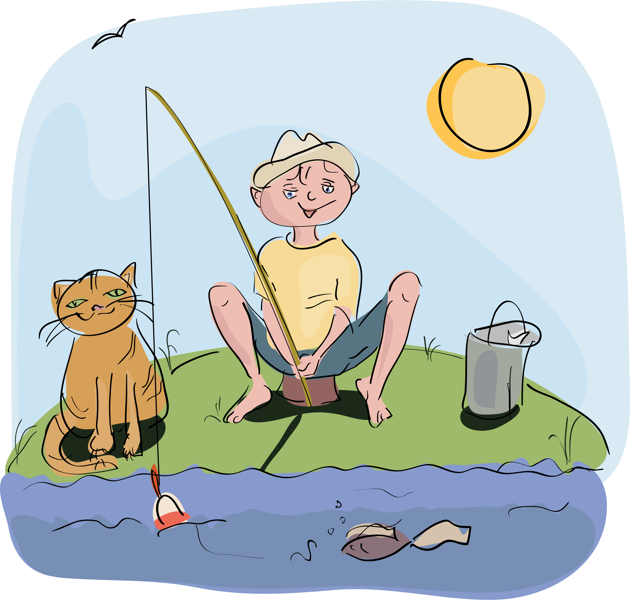 boy and cat fishing by OlKu