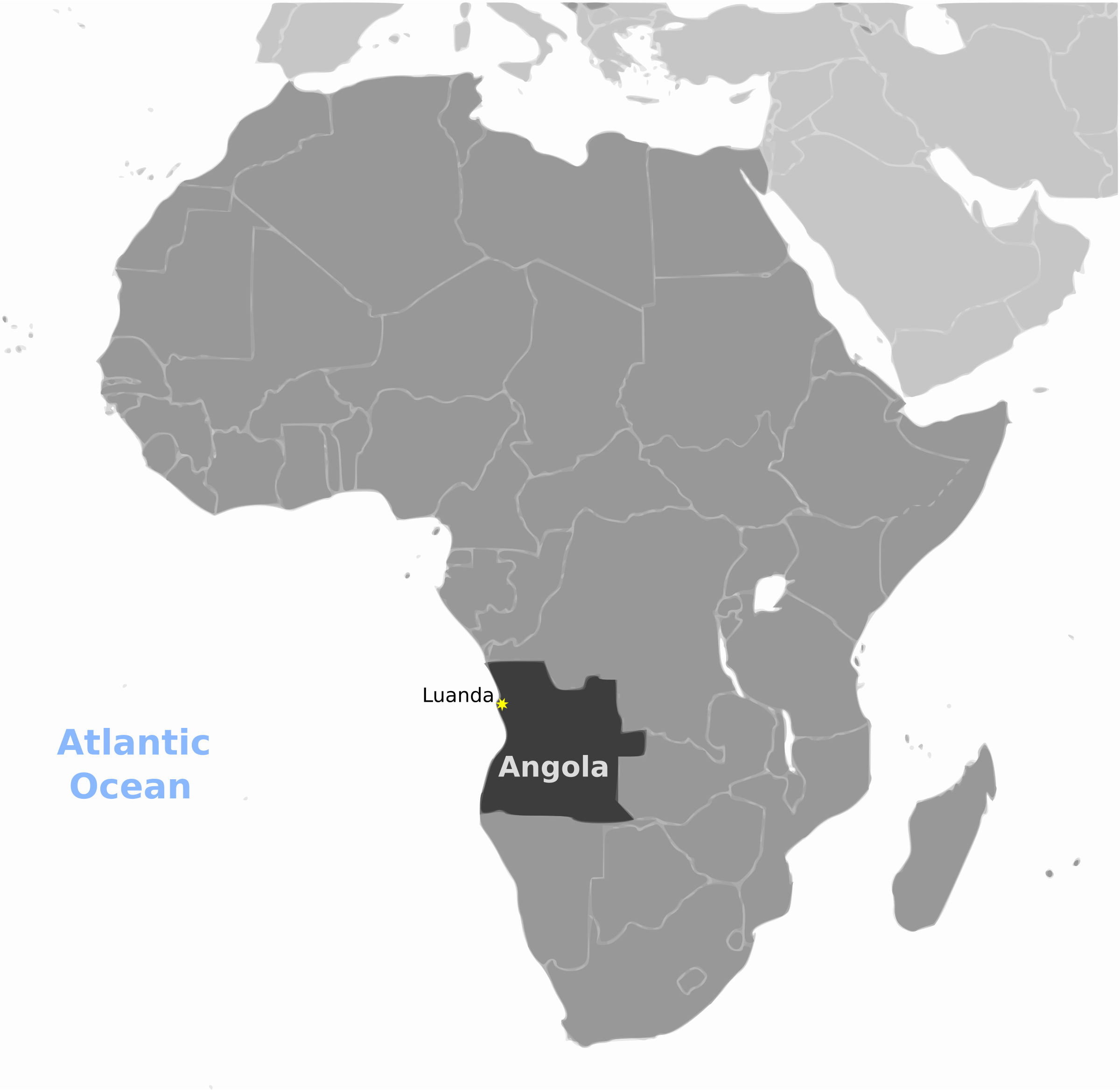 Angola location labeled by wpclipart