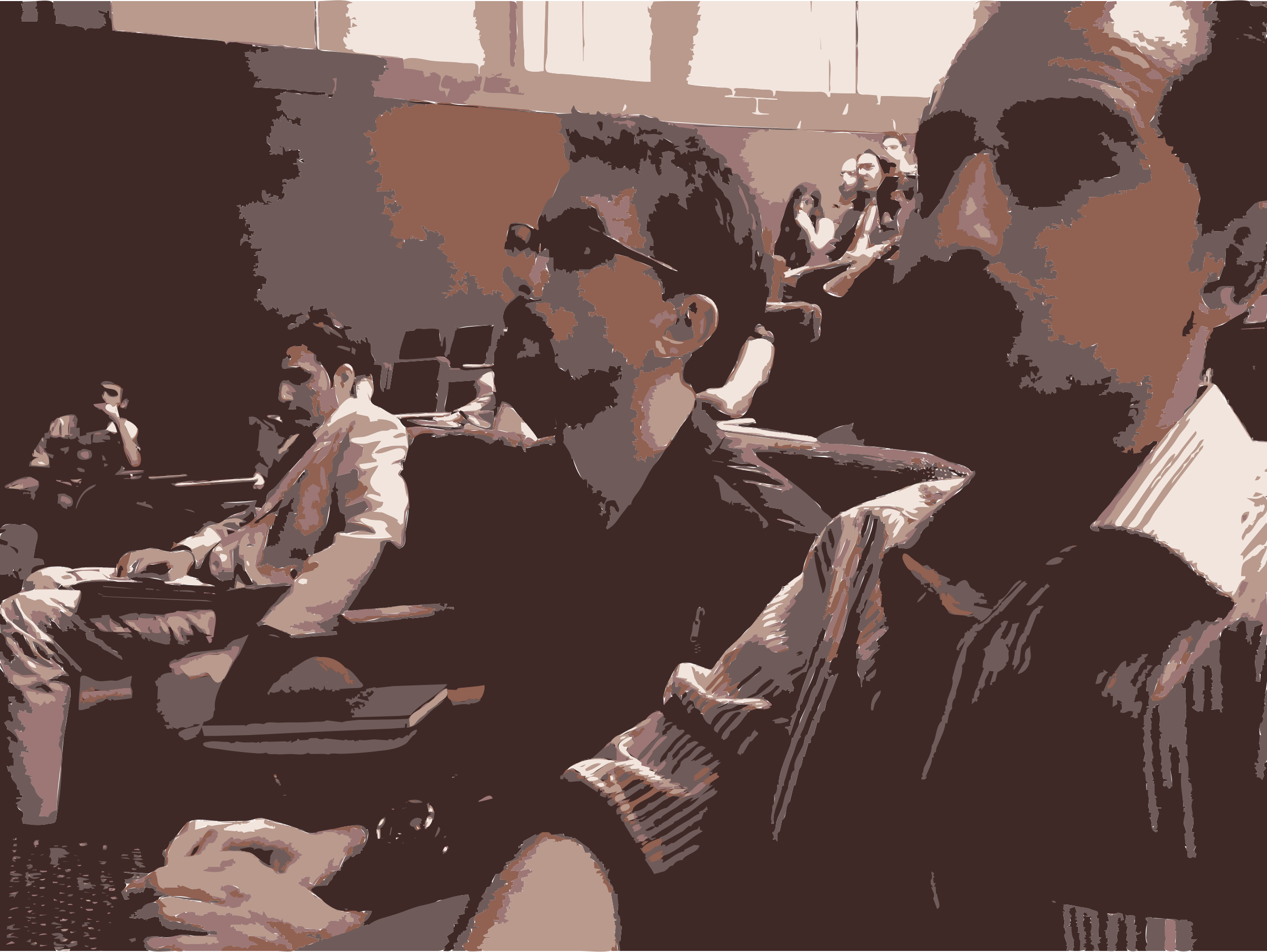 Christopher and Bassel watching Lessig Speak by rejon