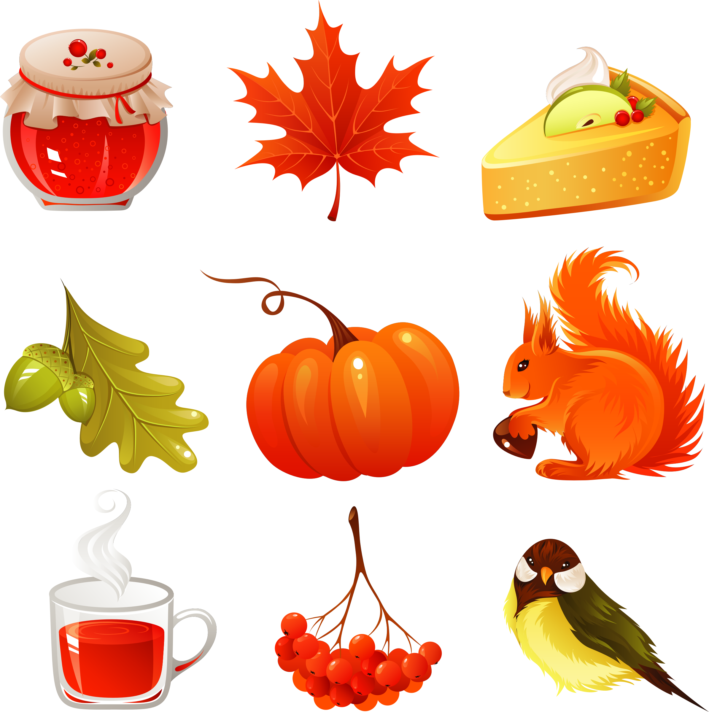 vector autumn icons set  by freeiconsweb