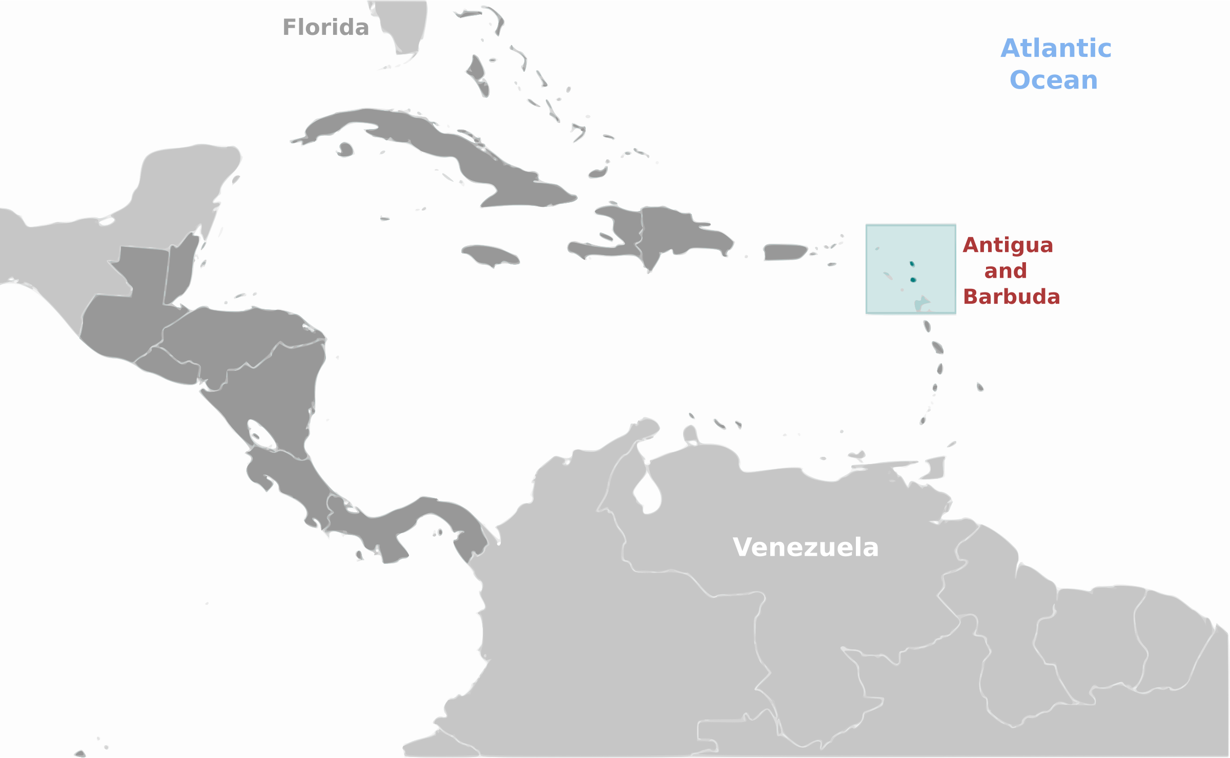 Antigua and Barbuda location label by wpclipart