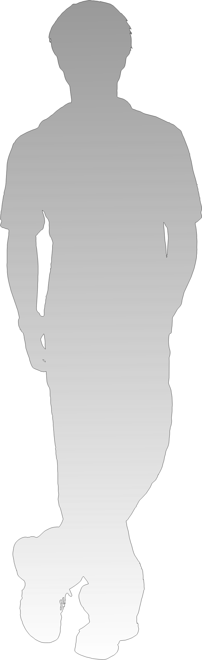 shadow of person - standing leg cross and put hands in the pockets by thinklogically