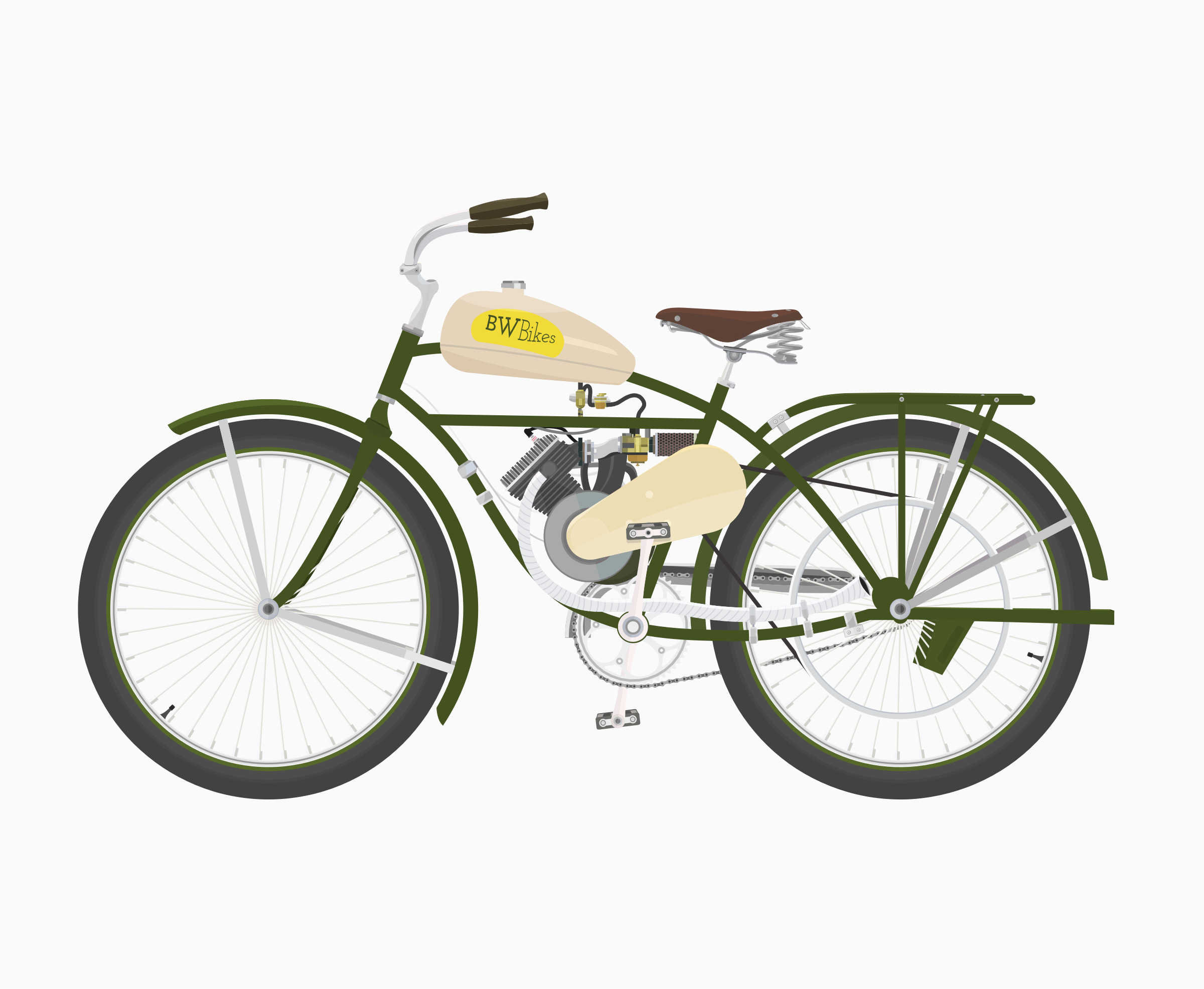 Vintage Bicycle With Motor by barrettward