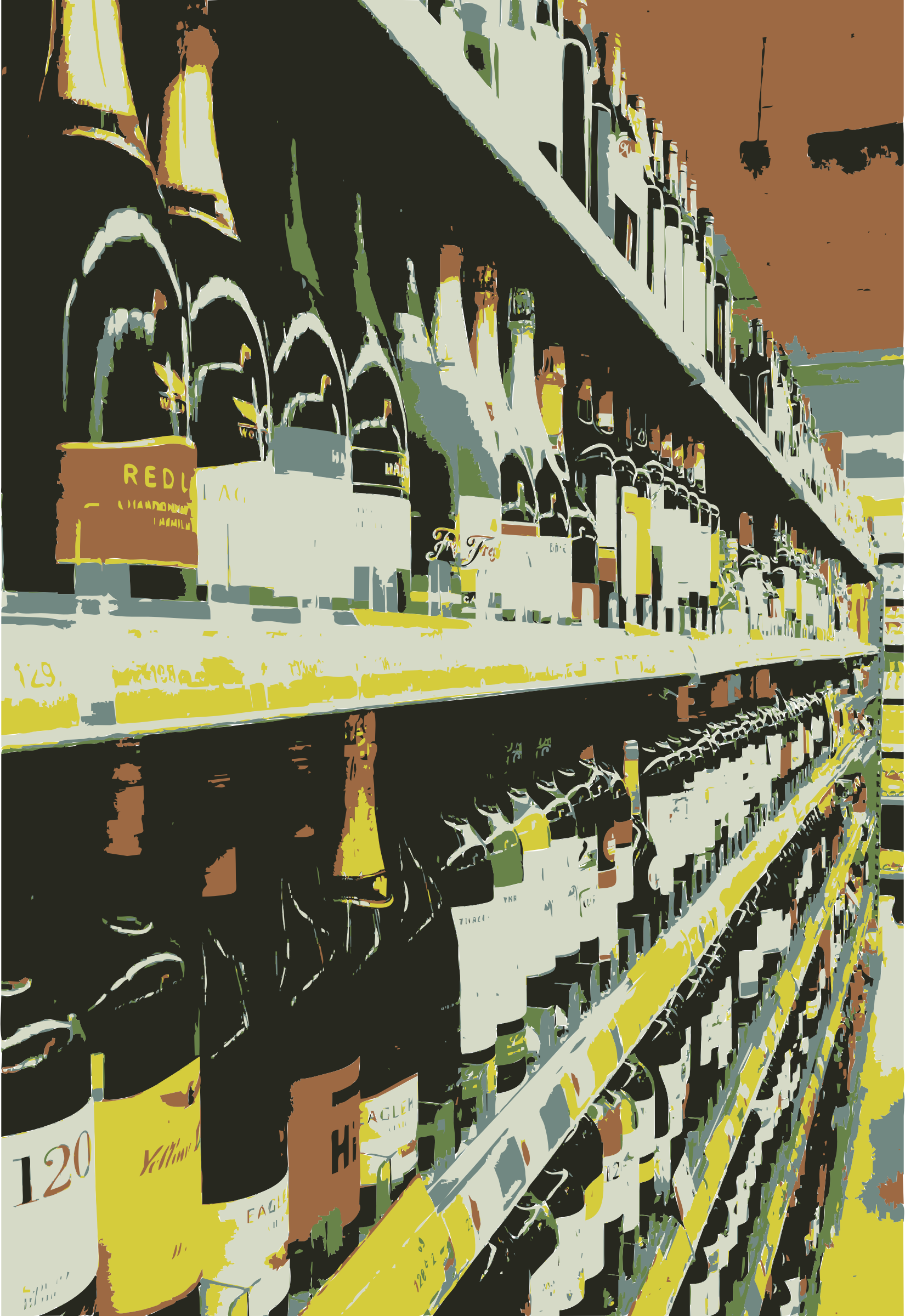Wine selection on shelf by rejon