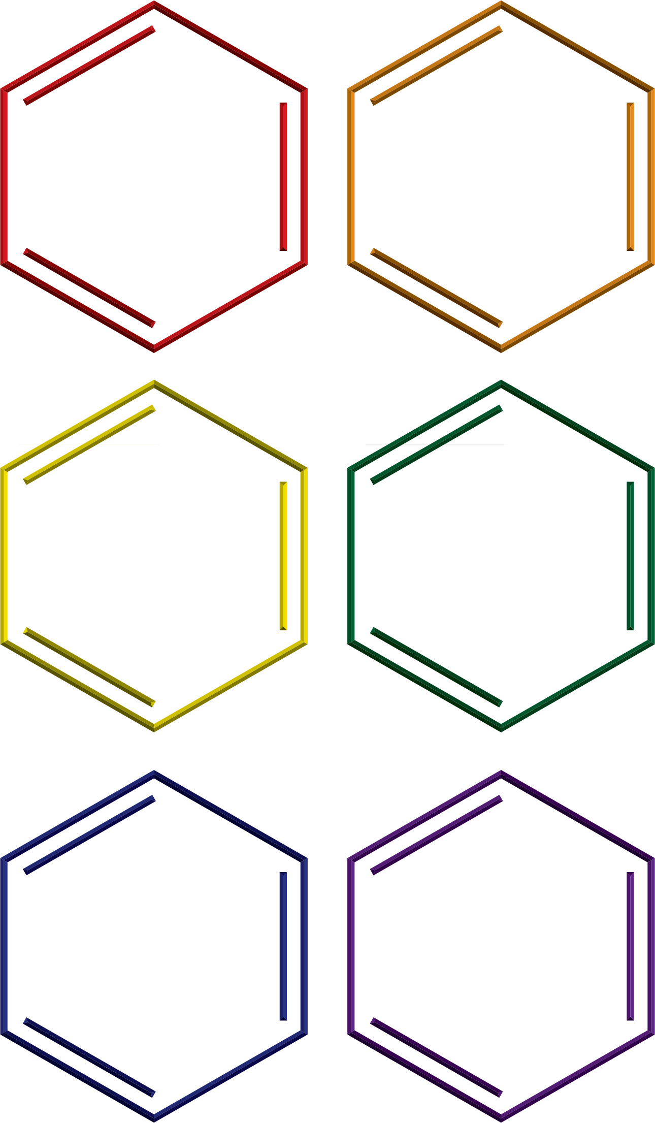Benzene rings in rainbow colors by jhnri4