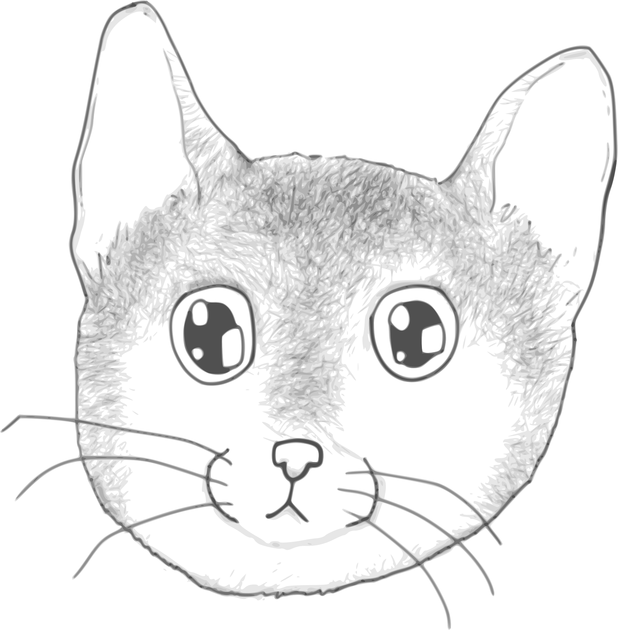 A stripped kitten face by Child_of_Light