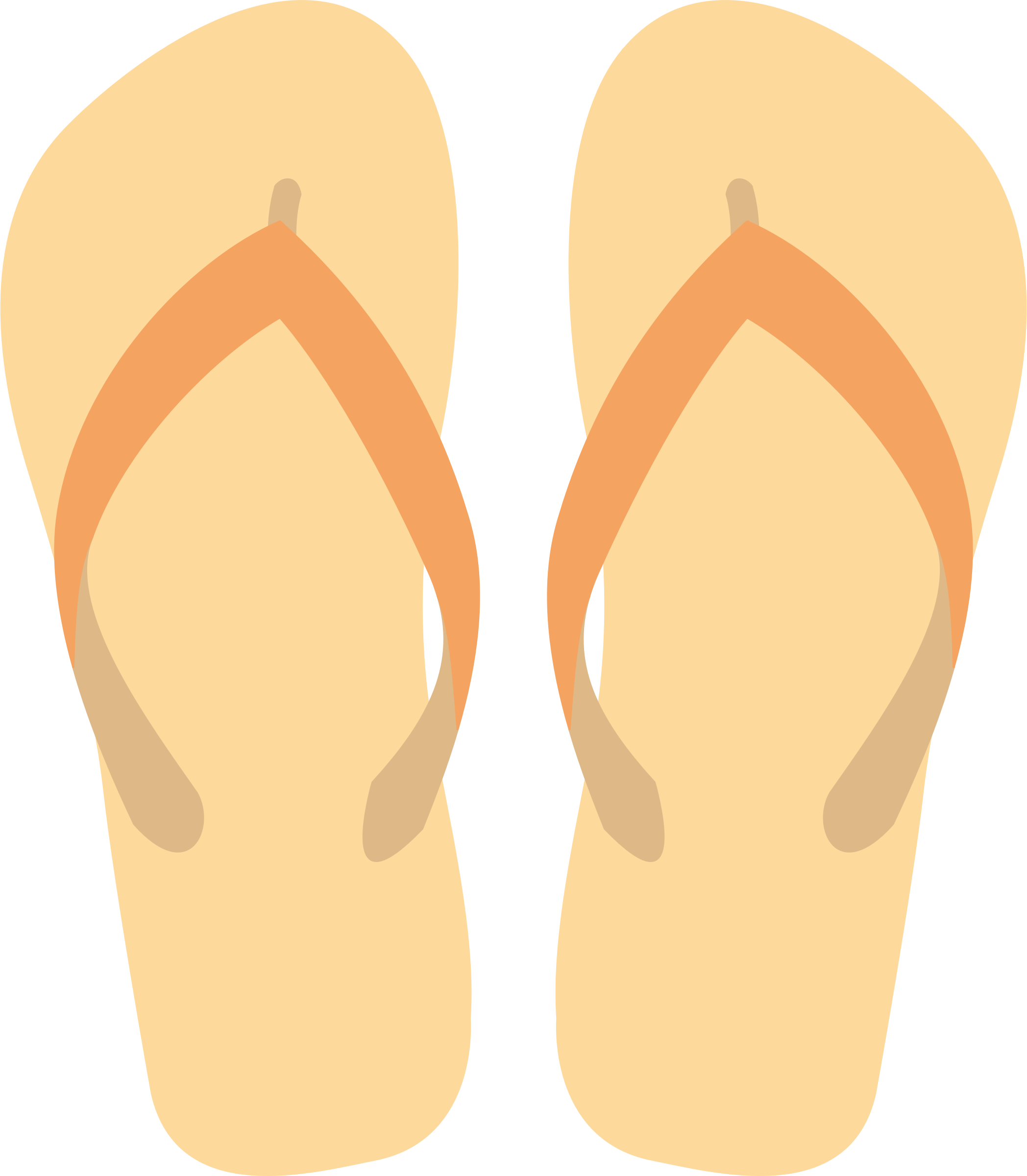 Tan and Orange Flipflops by SOlvera