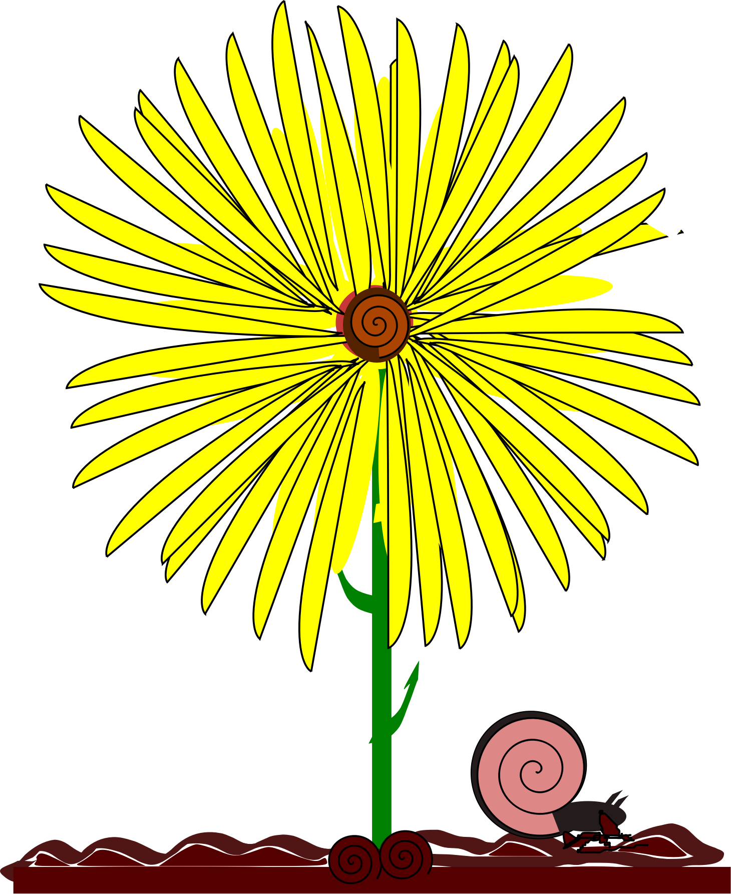 Clipart Yellow Flower And Snail