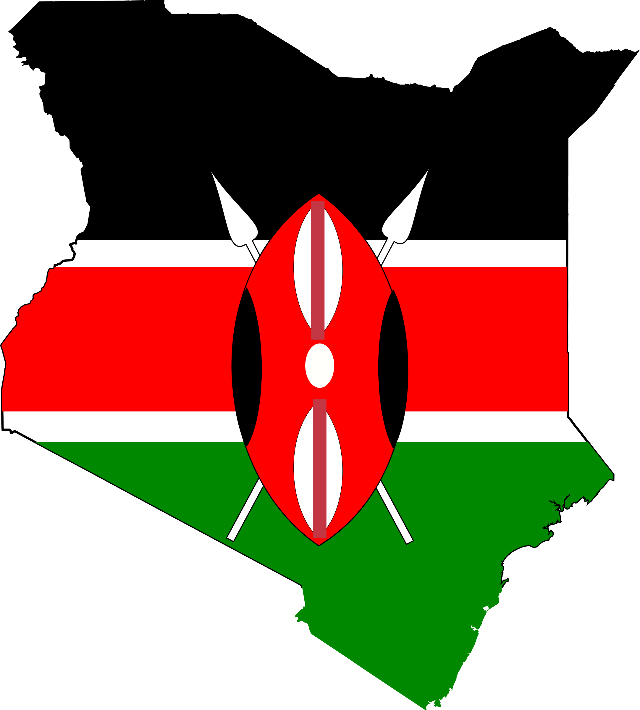 Clipart Kenya Map Flag - Kenya map