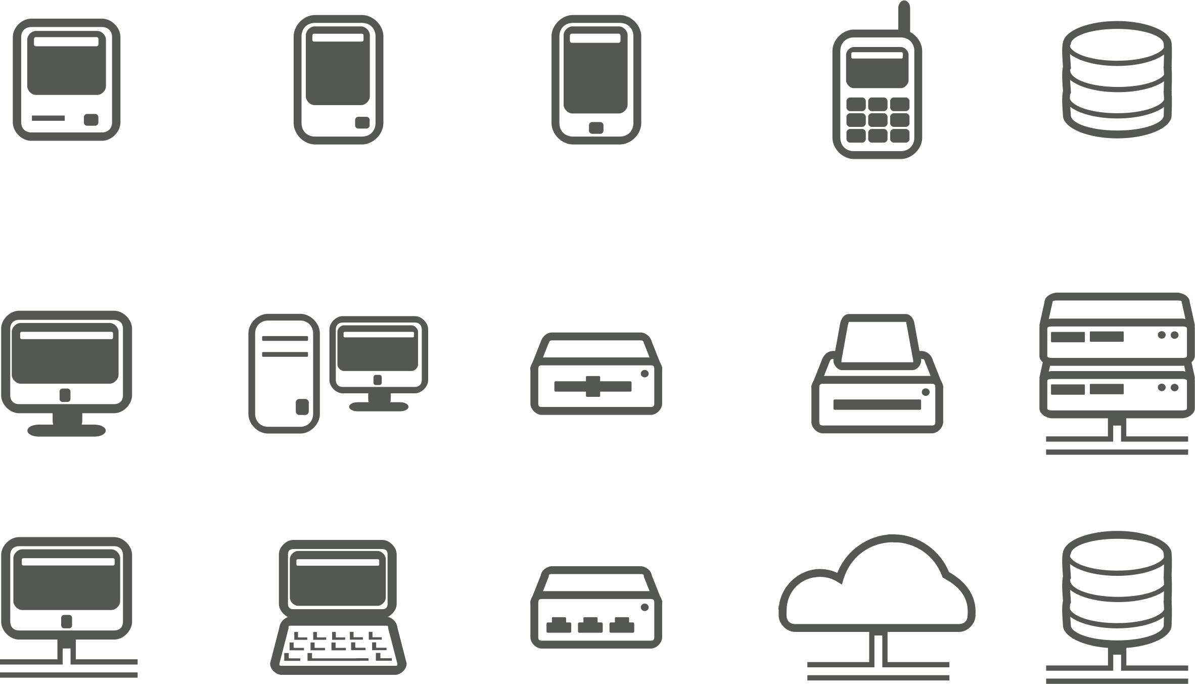 Computer & network icons by rg1024