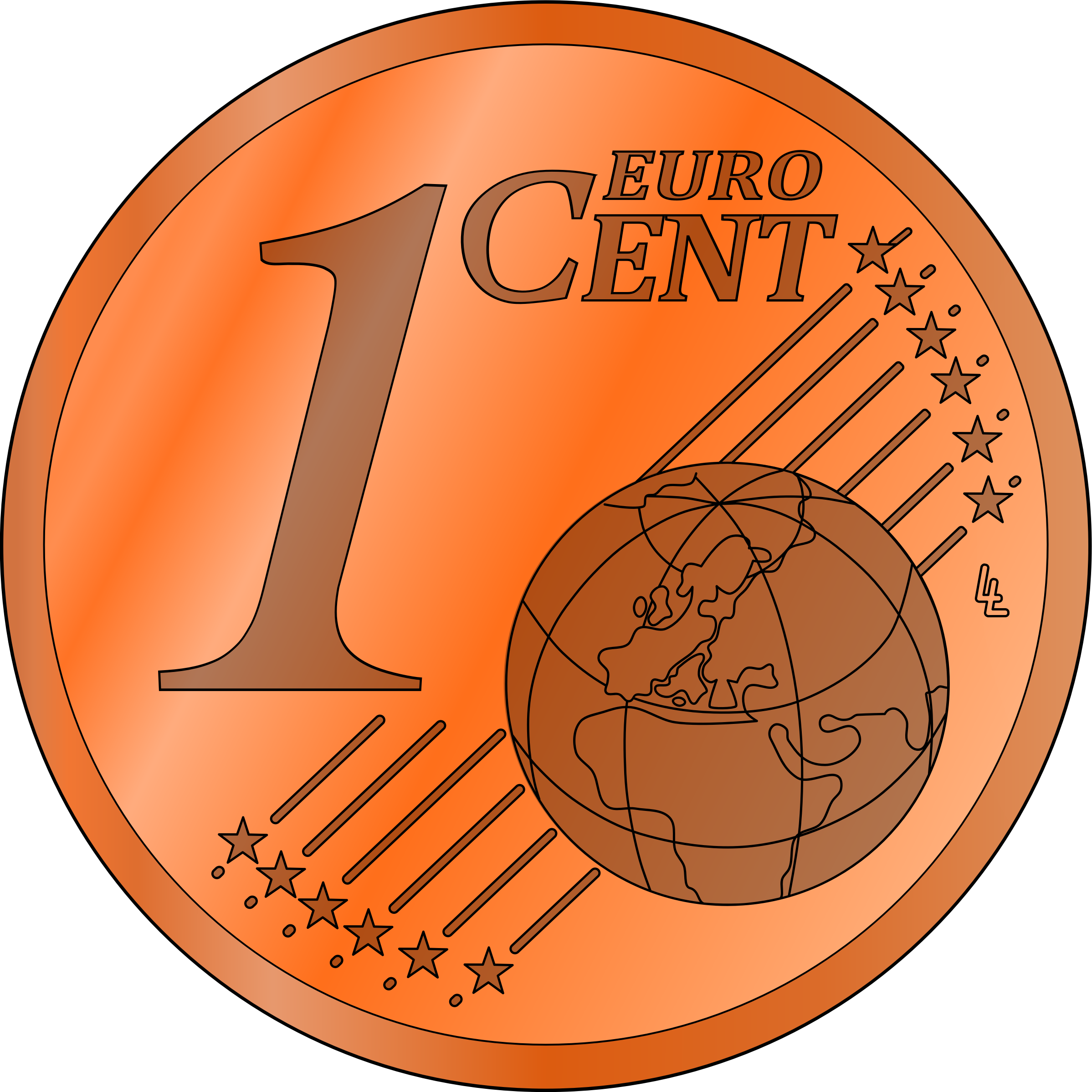 one euro cent, colored by frankes