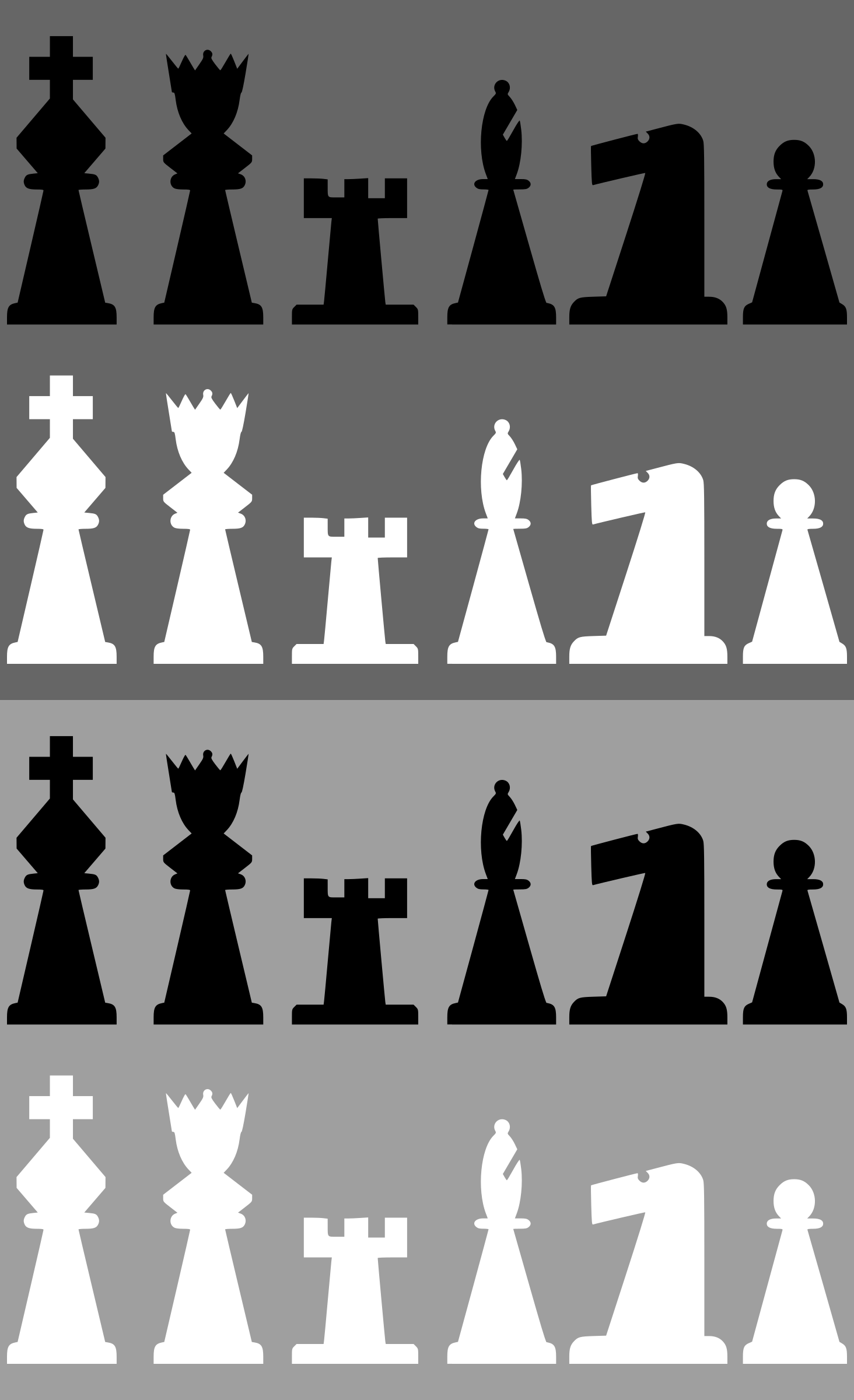 2D Chess set - Pieces by portablejim