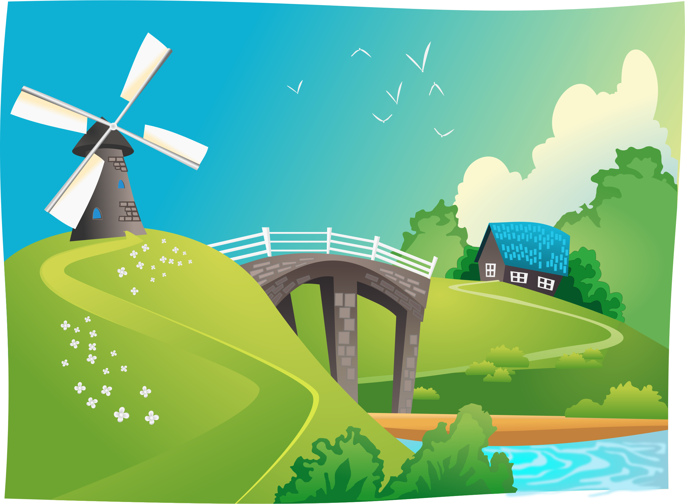Windmill in landscape by cyberscooty