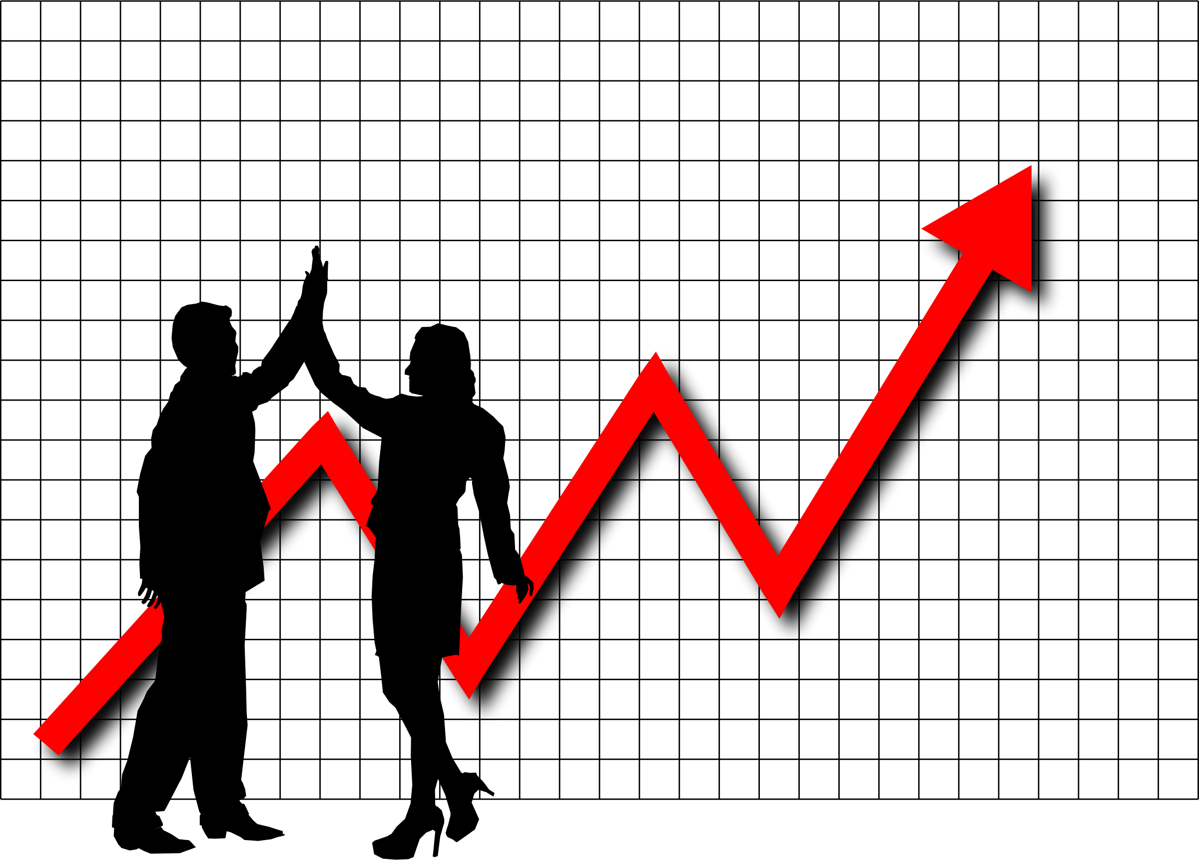 clipart - profit high five graph
