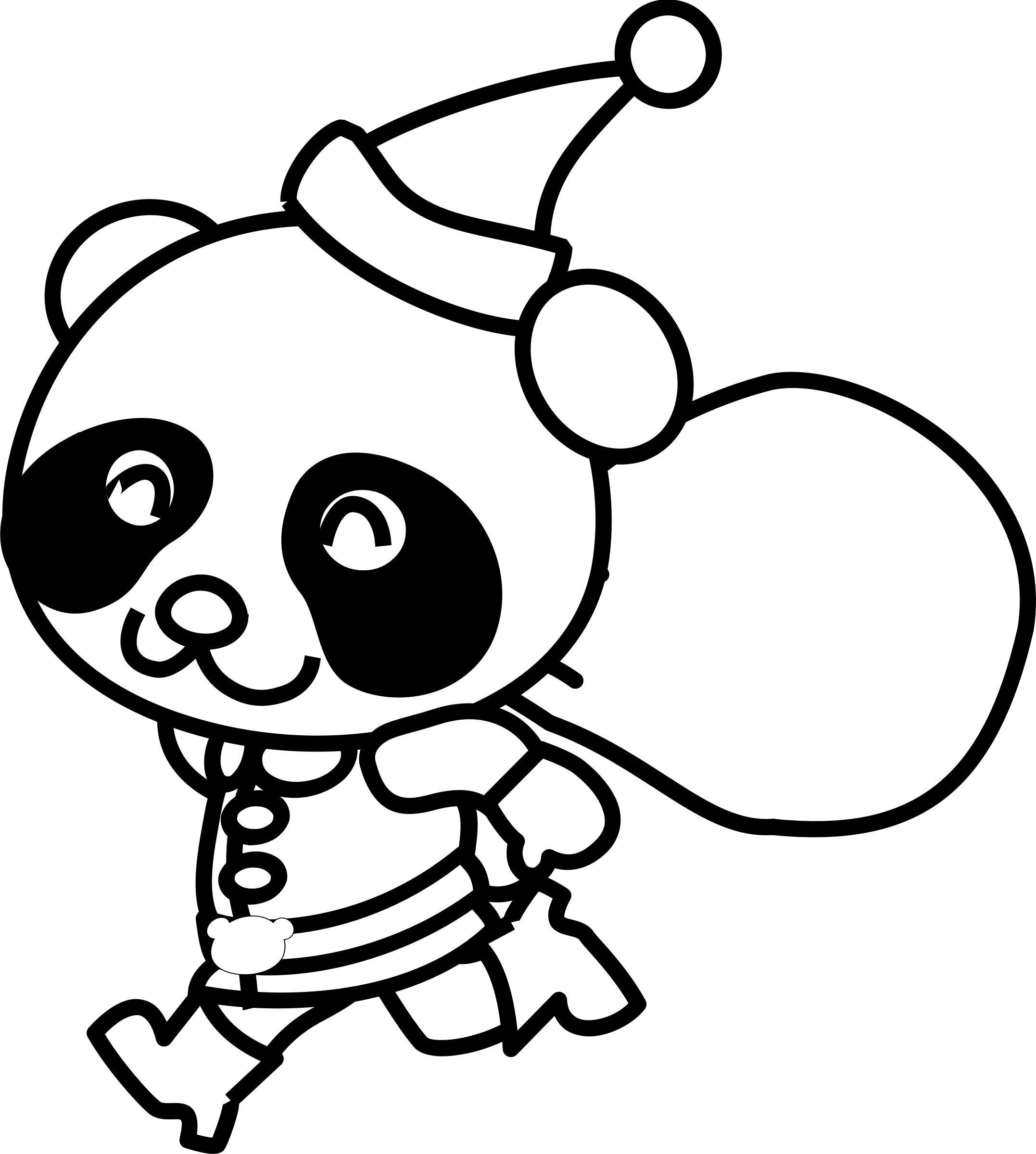 Santa Panda Coloring Page by pianoBrad