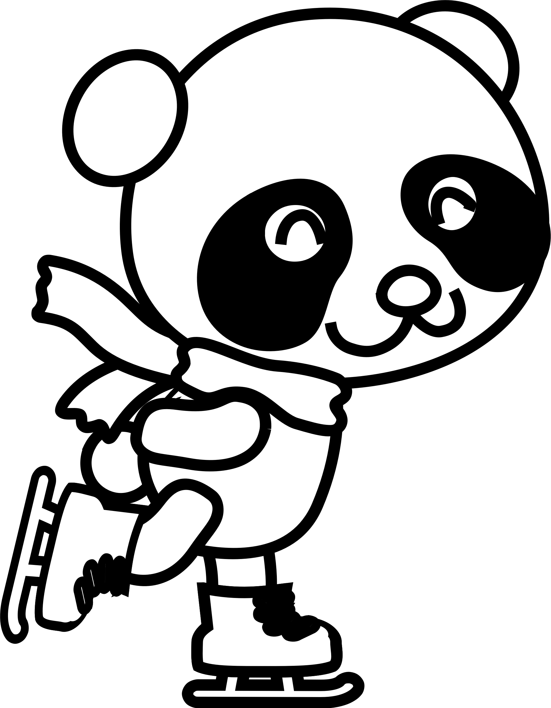 Skating Panda Coloring Page by pianoBrad