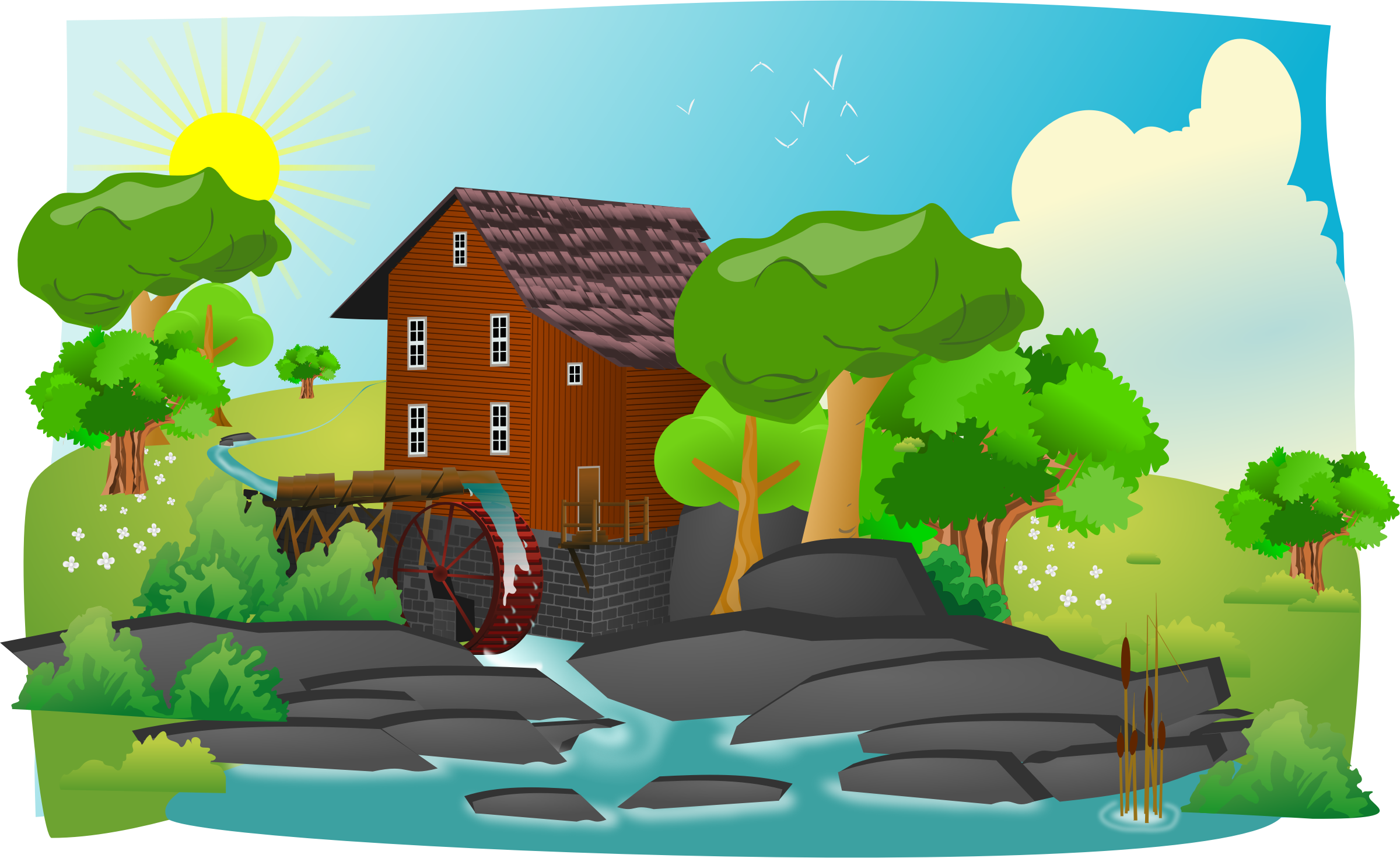 Watermill in lanscape by cyberscooty