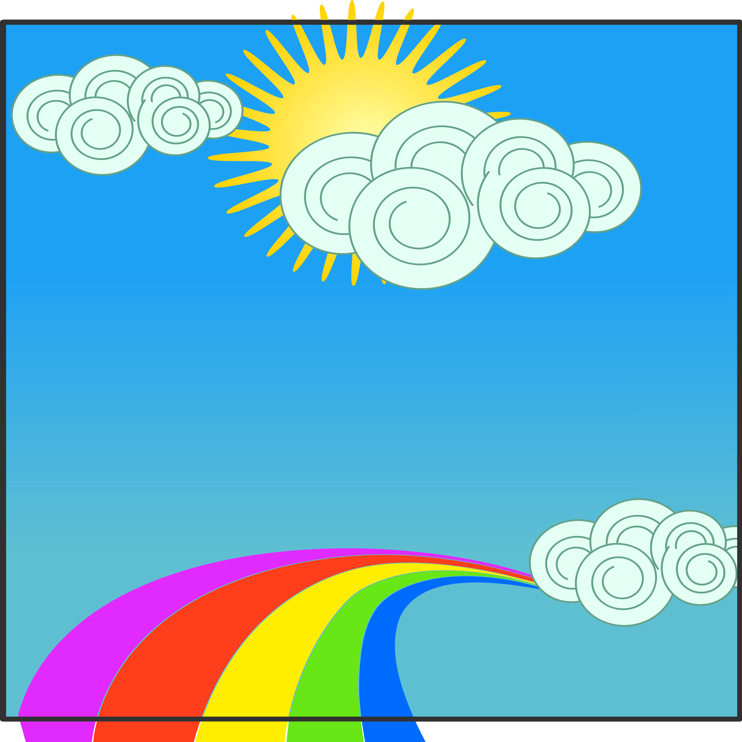 Sun, sky, clouds, and rainbow by anarres