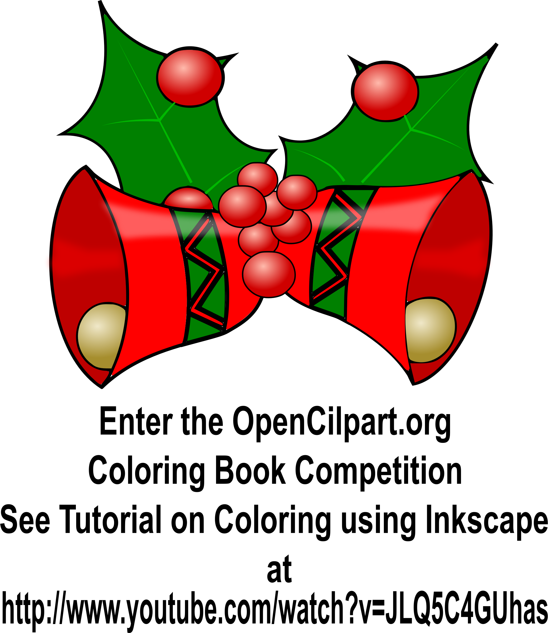 Christmas Bells - Coloring Book Page by simpletutorials.net