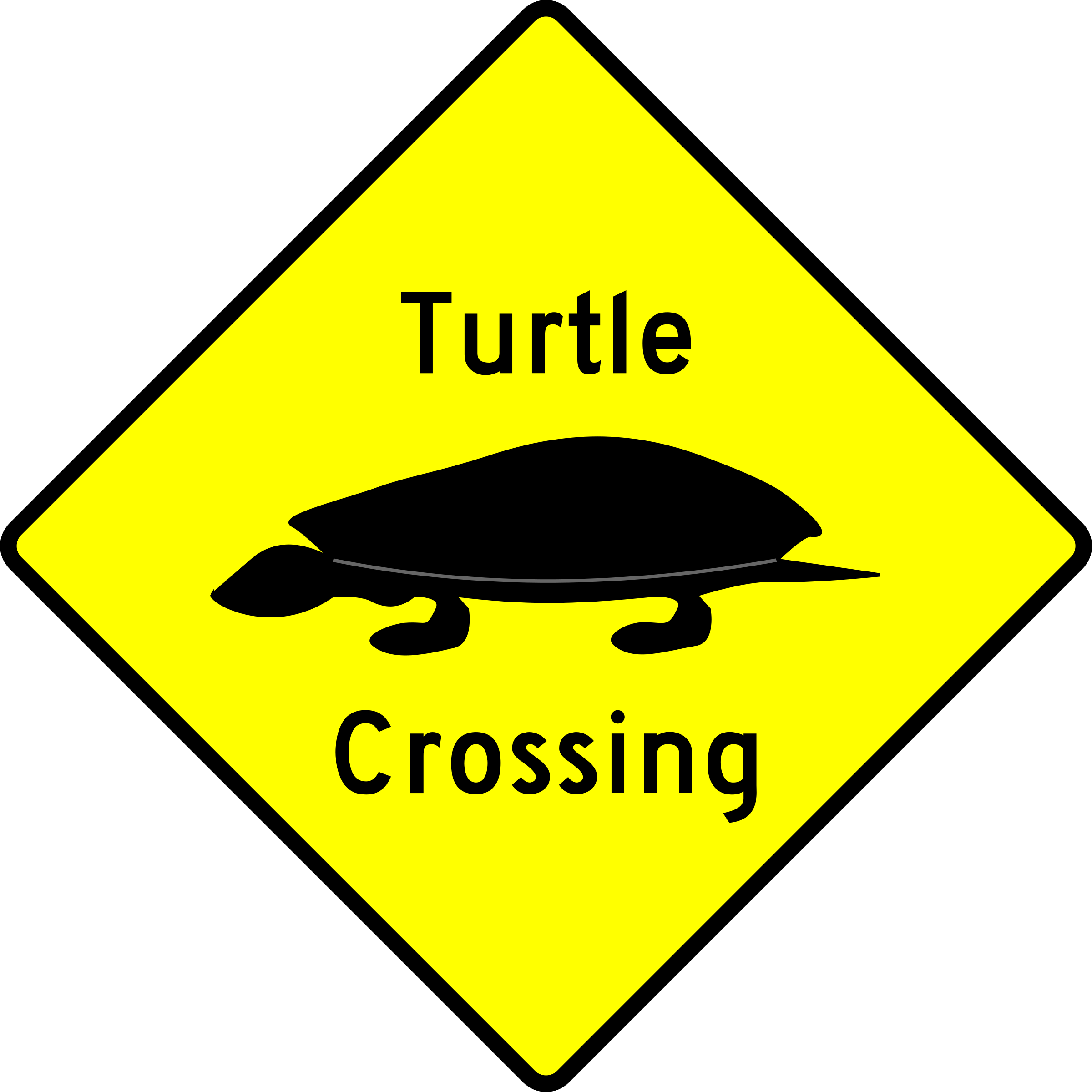 Caution Caution - turtle crossing