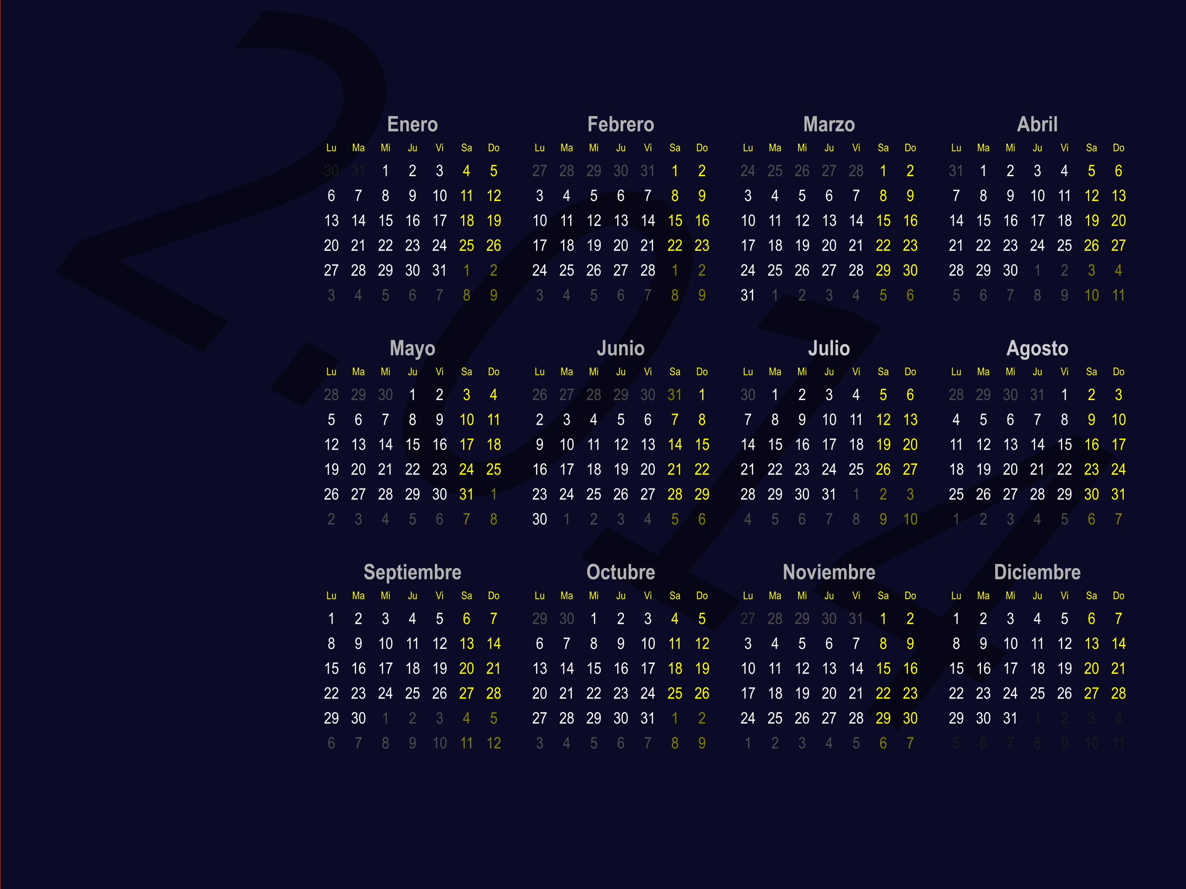 Fondo de escritorio (Calendario 2.014) by Lianleon