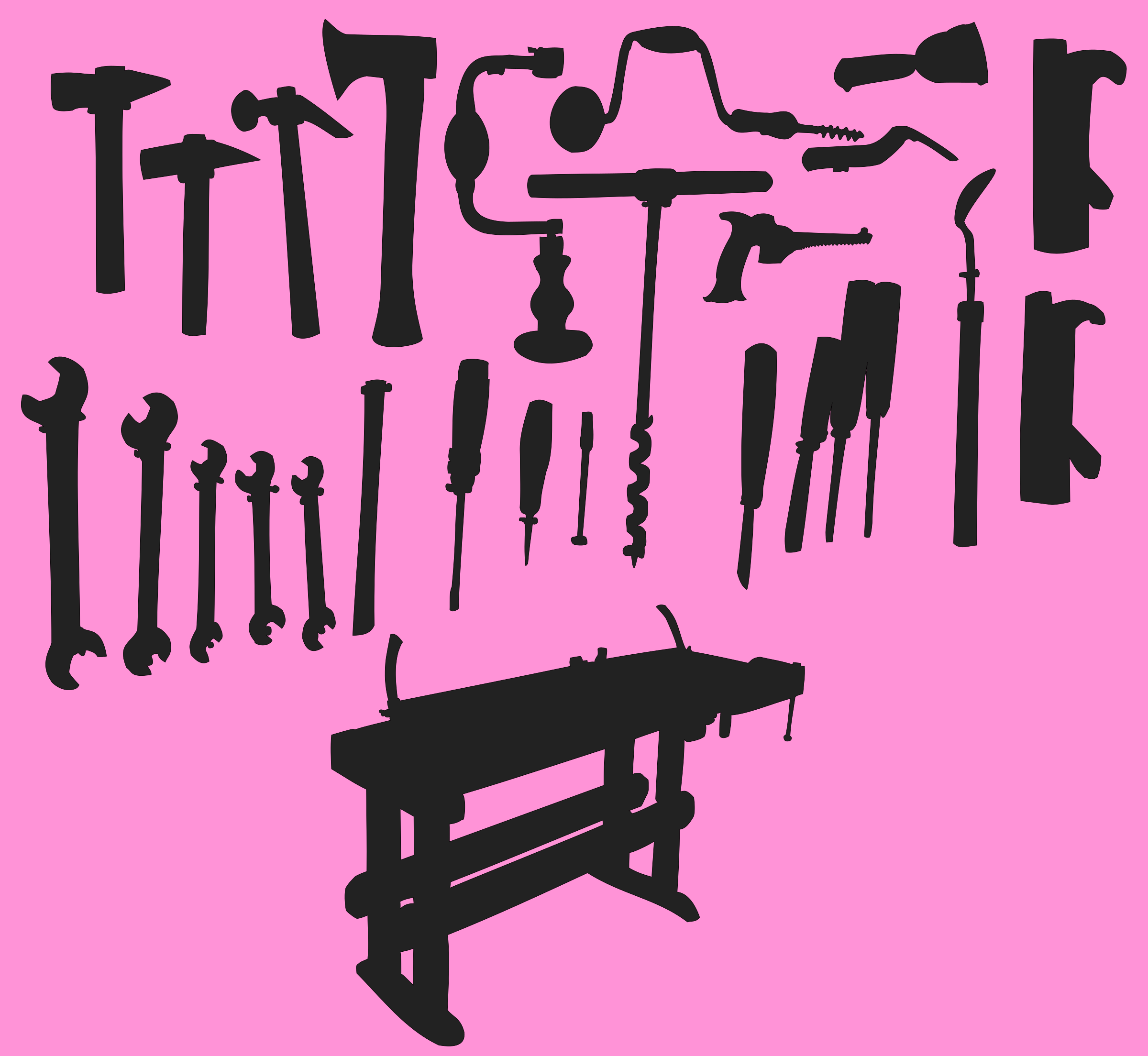 Tools and workbench silhouette by anarres