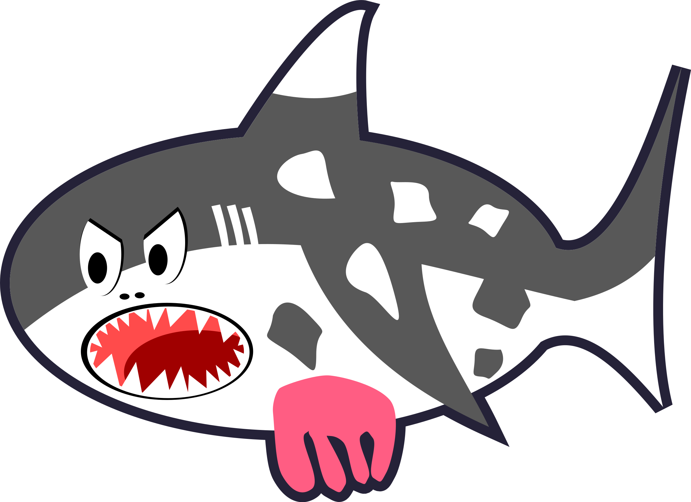 clipart black white u0026 red cartoon shark cow