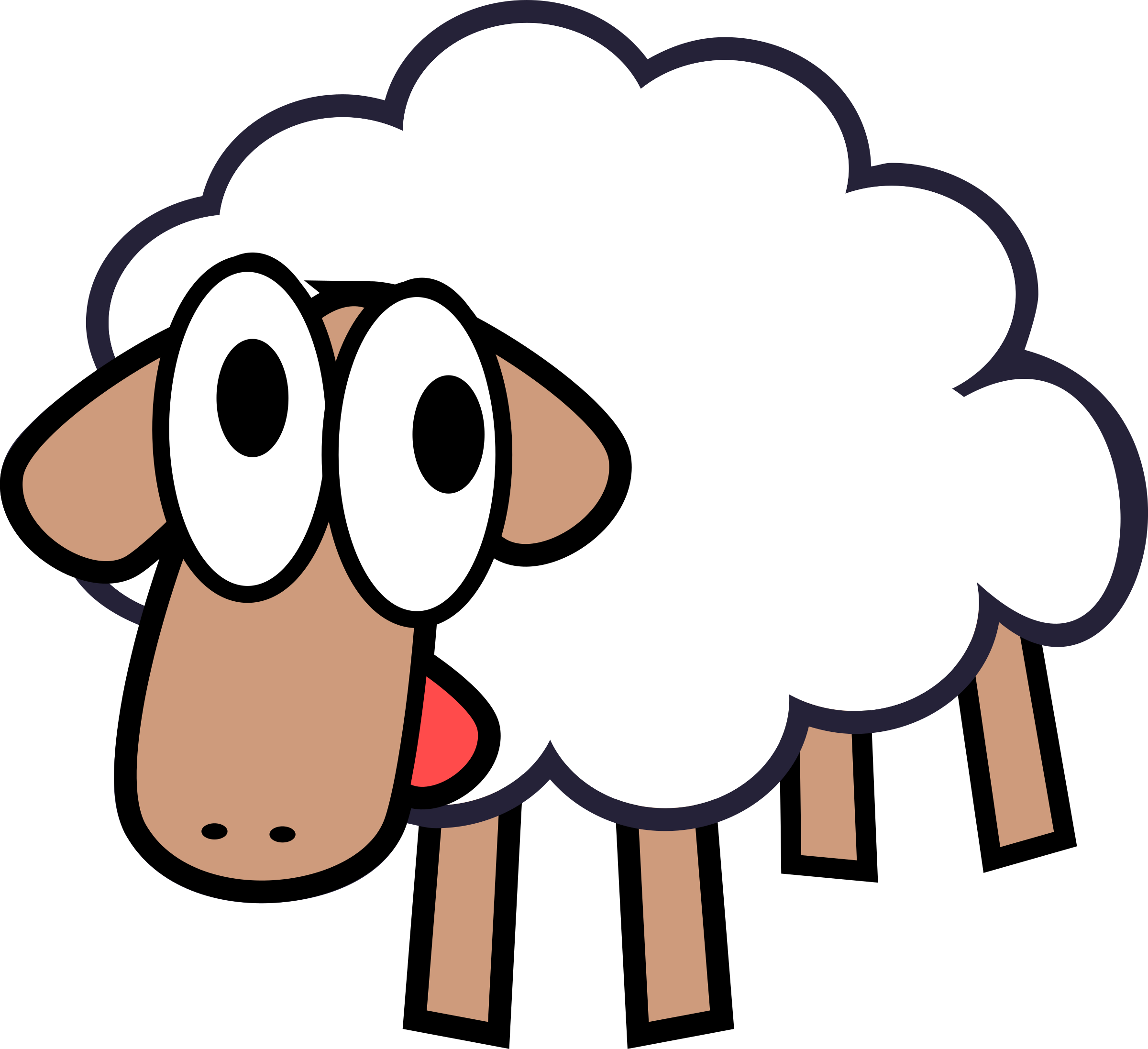 White Stupid & Cute Cartoon Sheep by qubodup