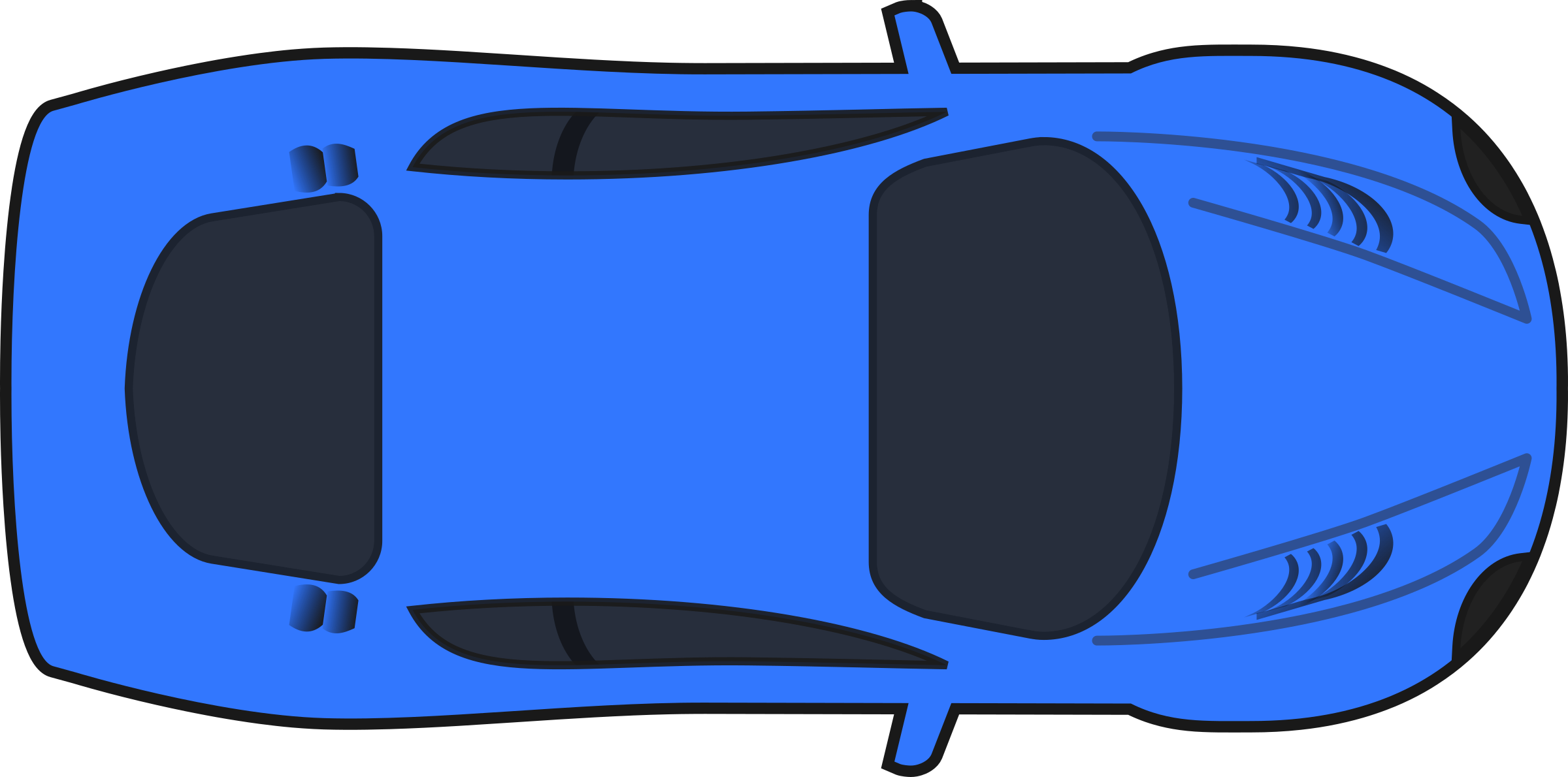 Dark Blue Racing Car (Top View) by qubodup