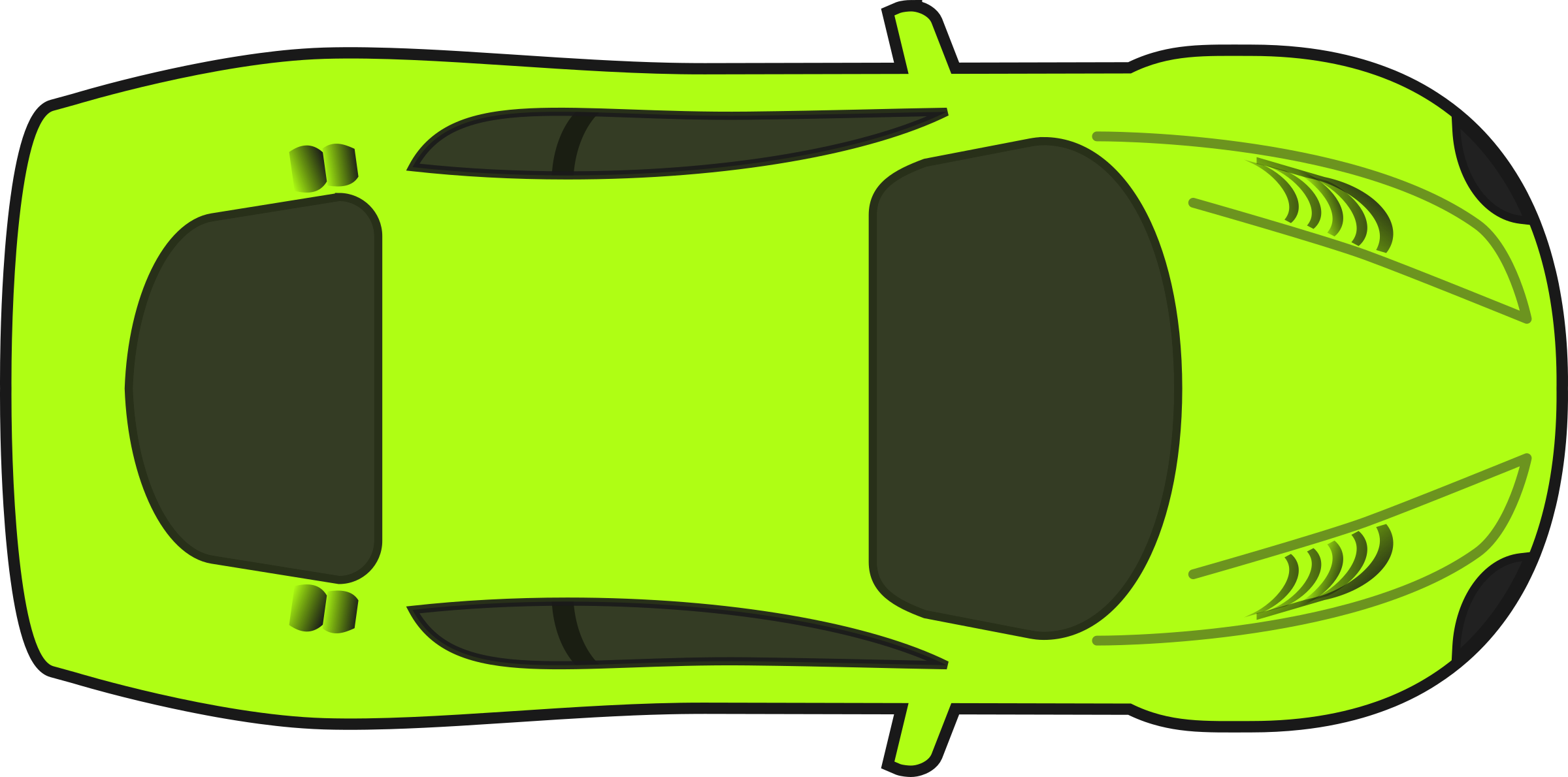 Bright Green Racing Car (Top View) by qubodup