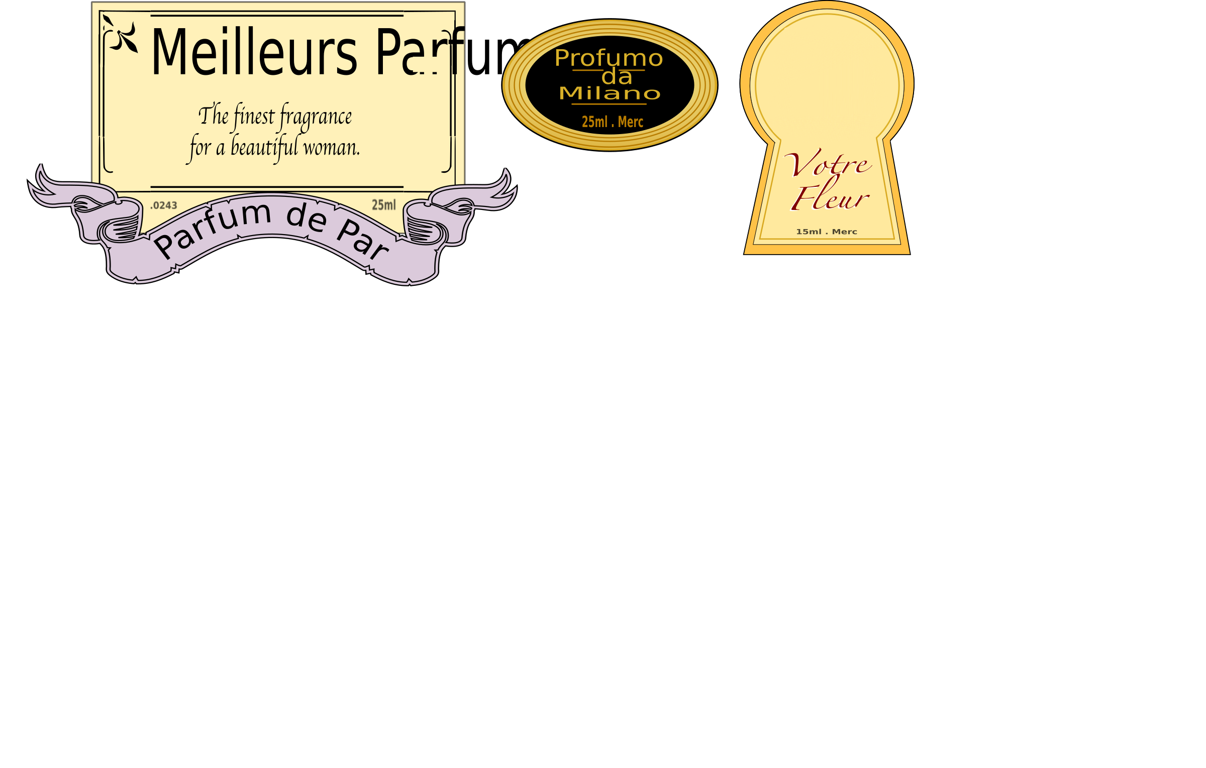 3 Perfume Labels by JArt