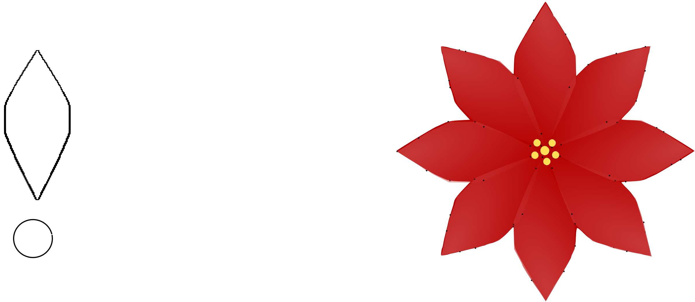 Flower Poinsettia 8 leaf Template