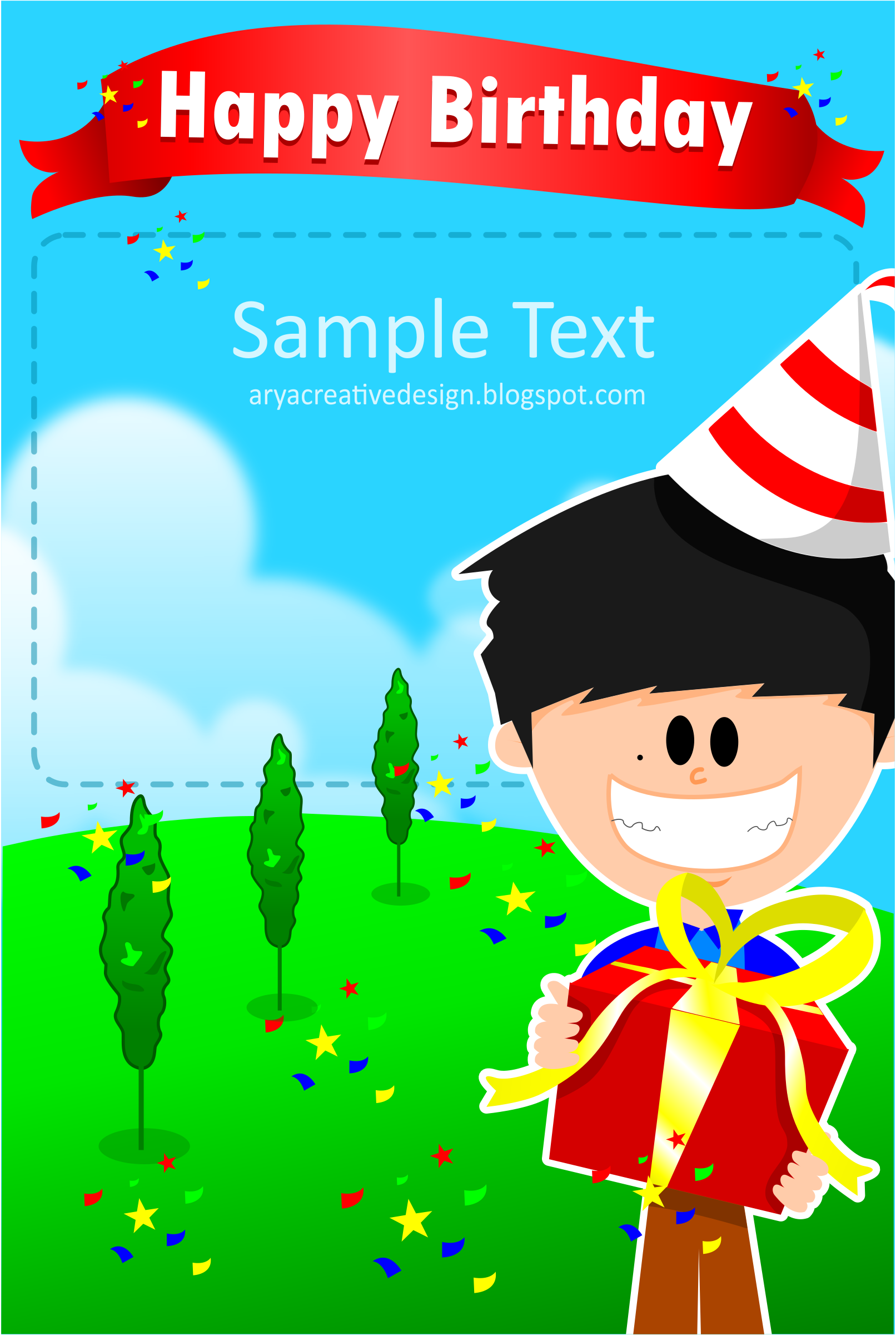 Card birthday template by Arya wigunavadhana